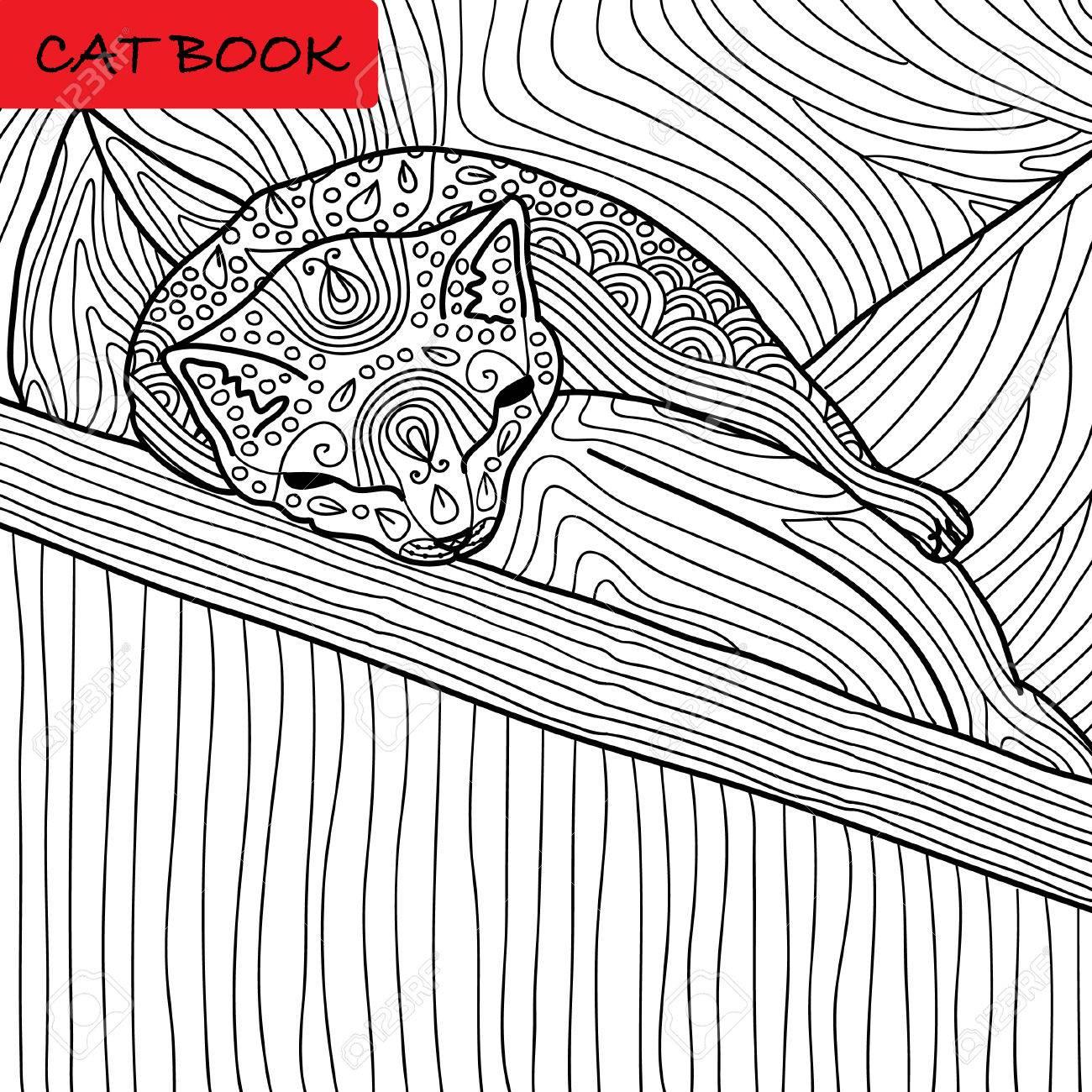 Página Para Colorear Gato Para Adultos. Gatito Divertido Del Bebé ...