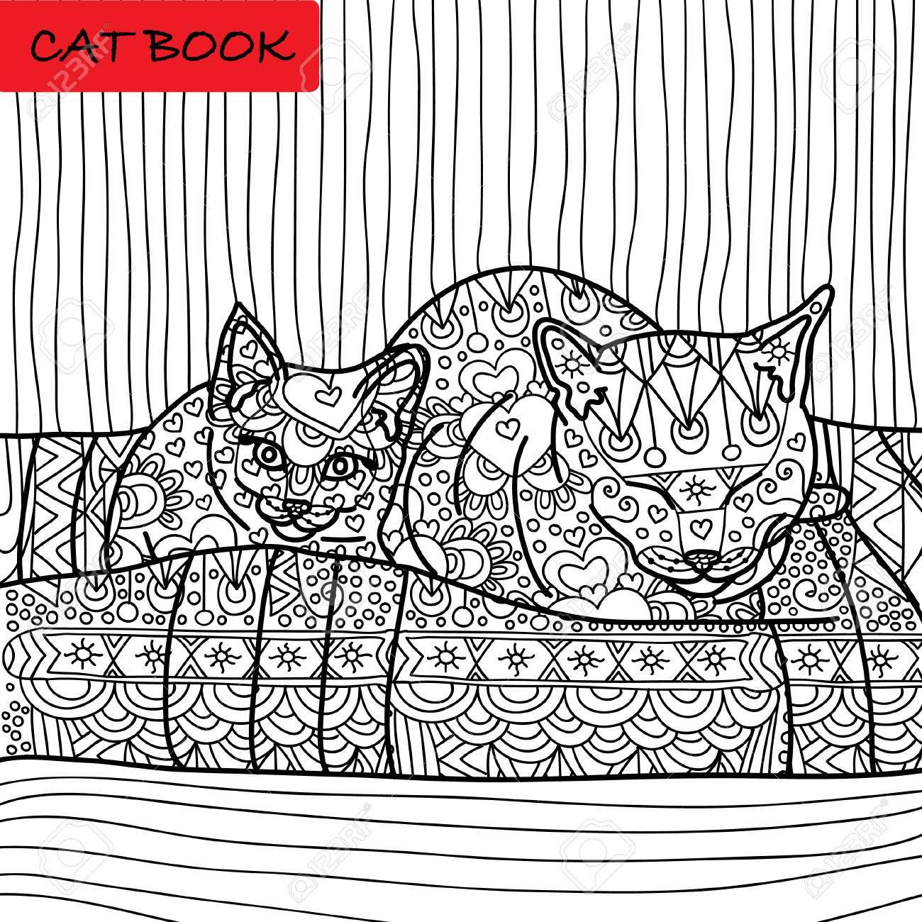 Página Para Colorear Gato Para Adultos Mamá Gata Y Su Gatito Bebé Sentado En El Sofá Dibujado A Mano Ilustración Con Los Patrones Zenart
