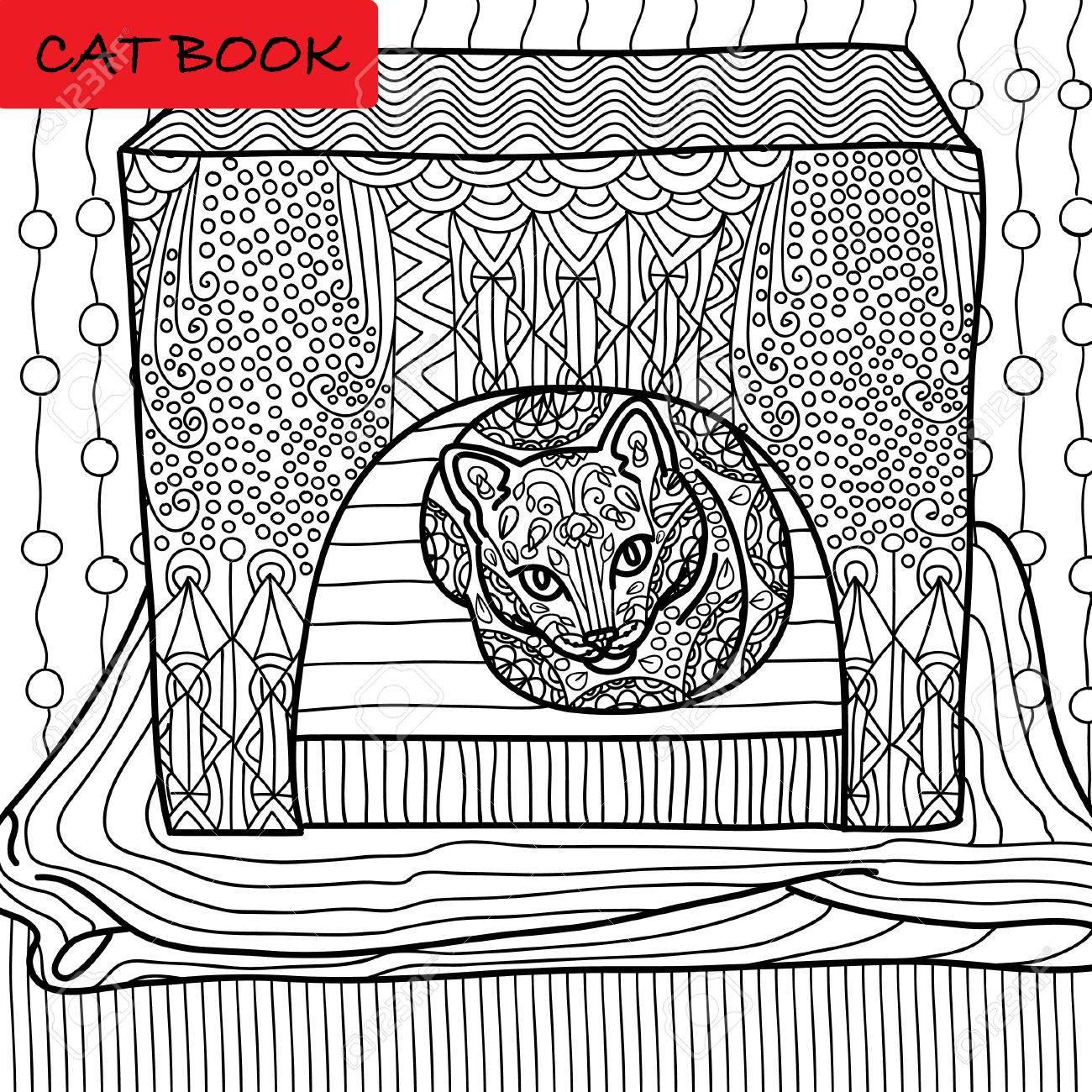 Página Para Colorear Gato Para Adultos. Seus Gato Se Sienta En Su ...