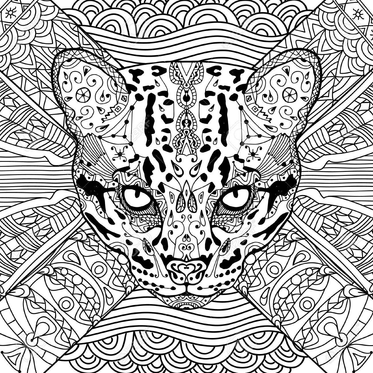Coloring Katze Buch Für Erwachsene, Wilde Katze Auf Dem
