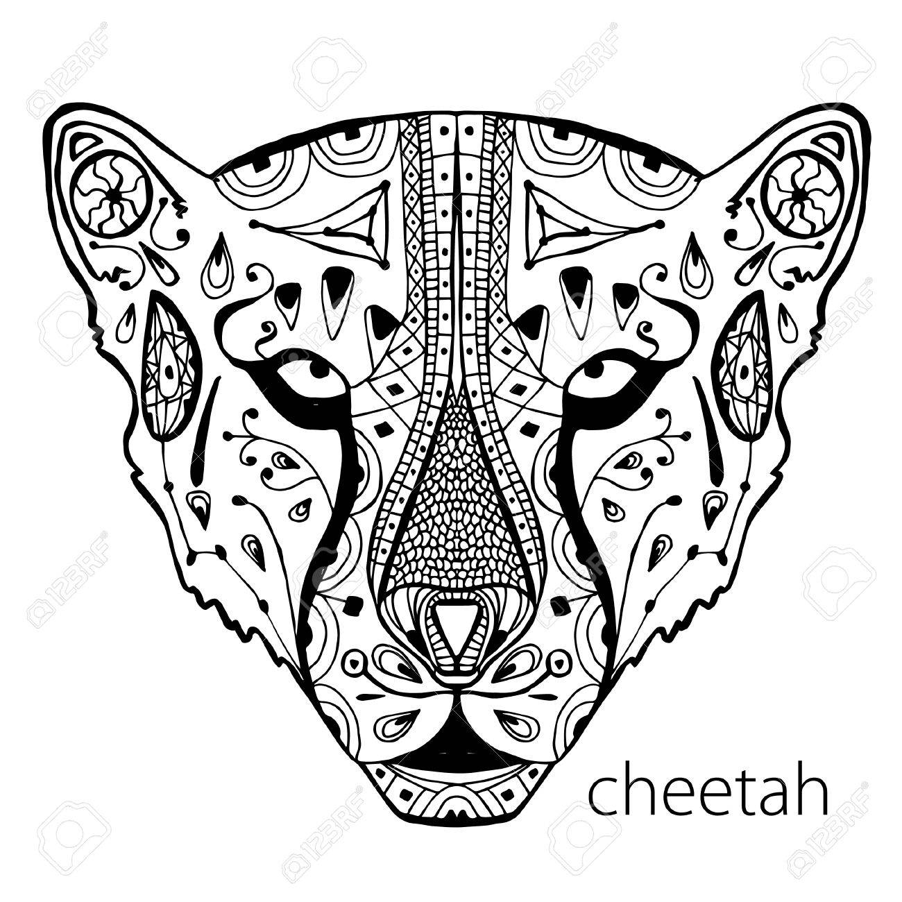 Coloring pages cheetah - 58525714 The Black And White Cheetah Print With Ethnic Patterns Coloring Book For Adults Antistress Art A54692fcacc05b71e2c32730fdf17c9f Coloring Pages