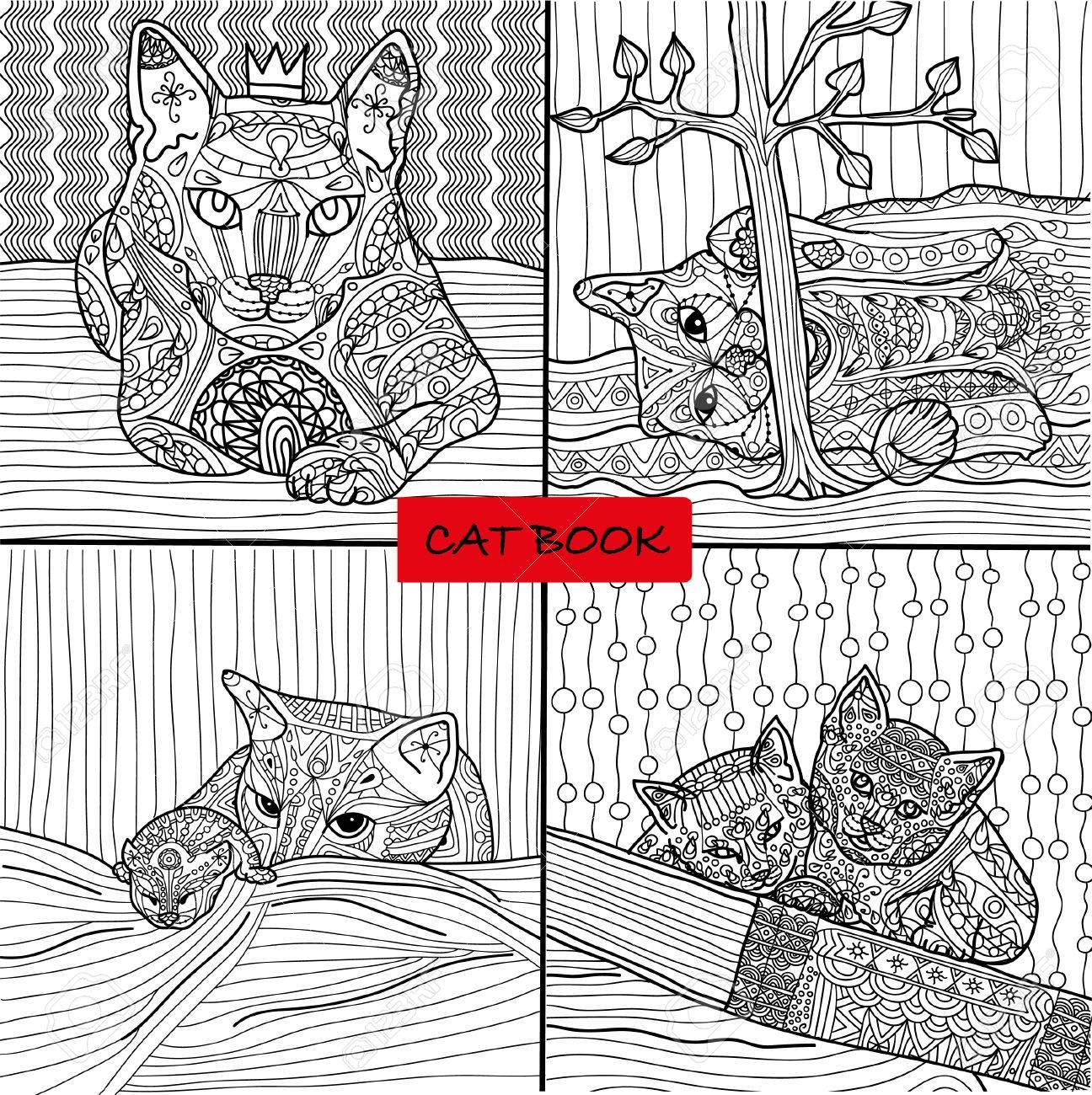 Livre De Coloriage Pour Les Adultes 2 Ensemble De Quatre Dessins à Colorier Pages De Chat Pour Adultes Et Enfants Vecteur Livre De Chat Zenart