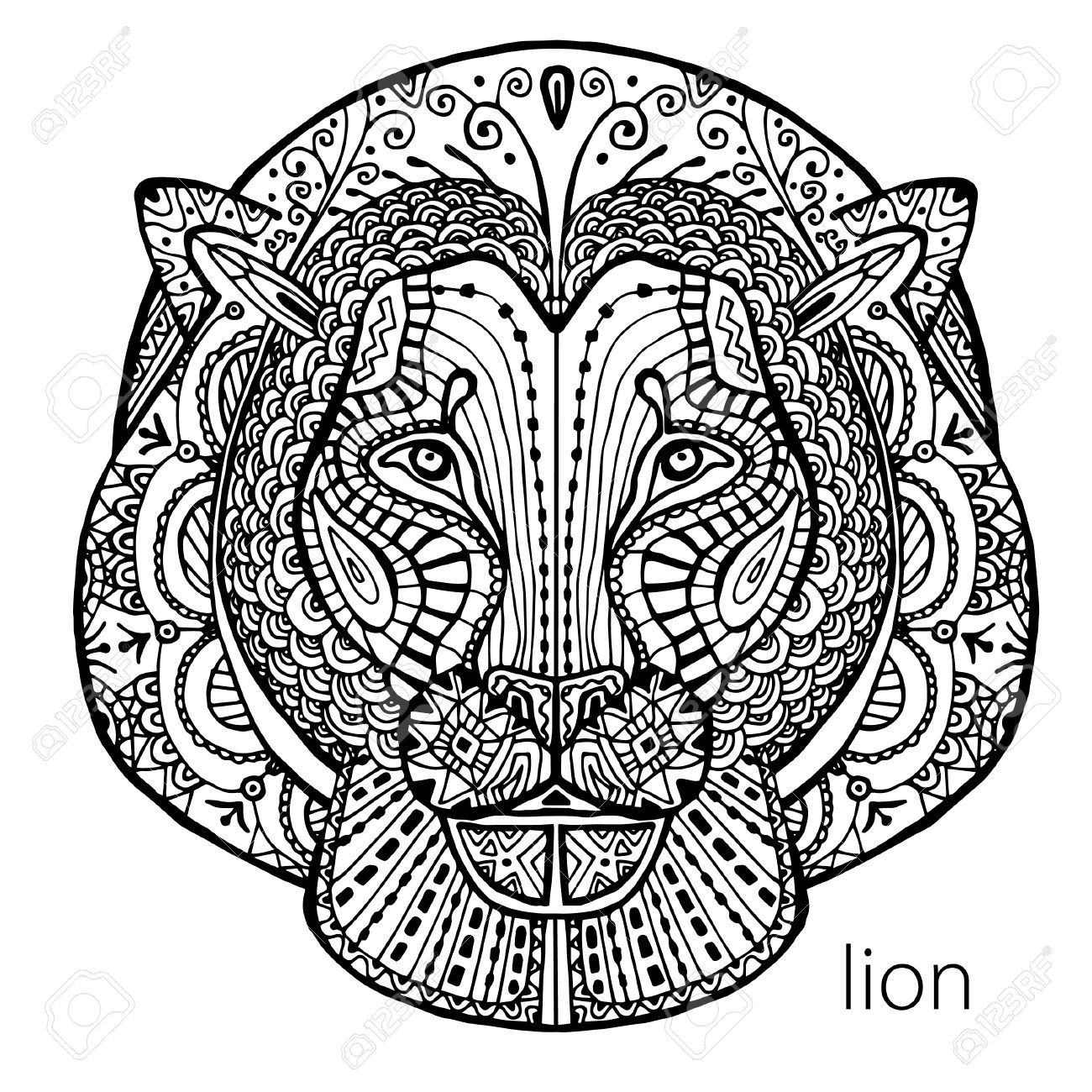 Stress coloring books for adults - The Black And White Lion Print With Ethnic Patterns Coloring Book For Adults Antistress