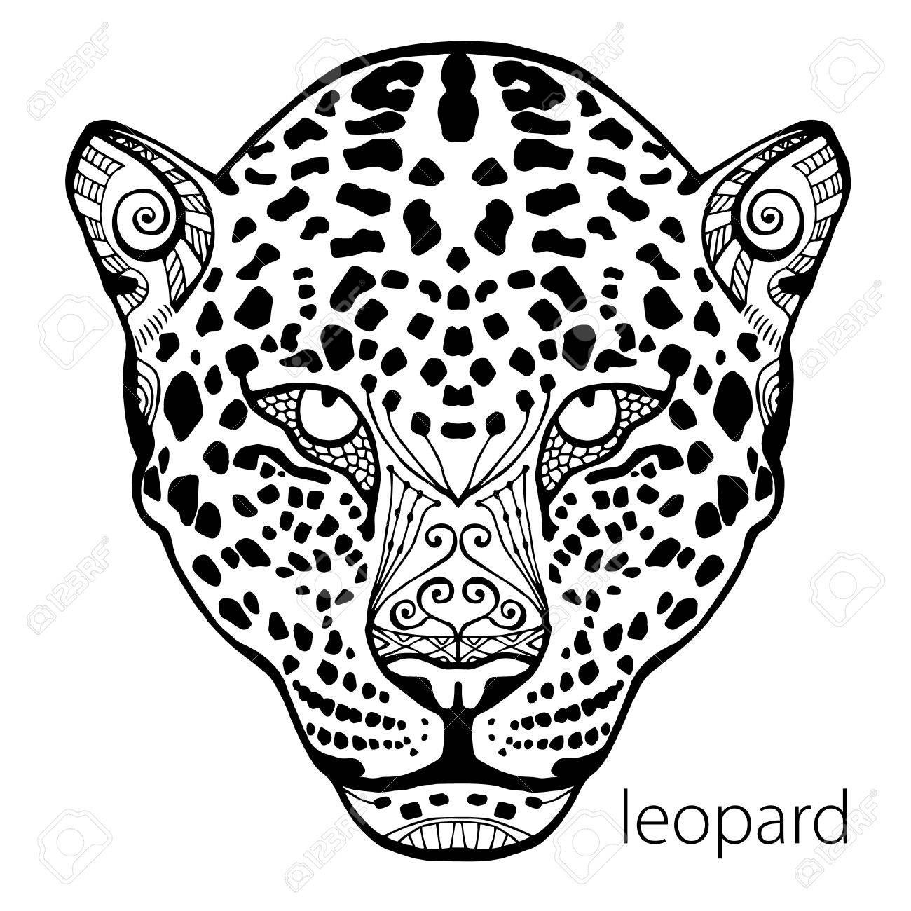 Le Leopard Noir Et Blanc Imprimer Avec Des Motifs Ethniques Coloriage Livre Pour Adultes Antistress Art Therapie Zenart Meditaion L Image Sur Le Tissu Tatouage Vecteur Banque D Images Et Photos Libres De Droits Image
