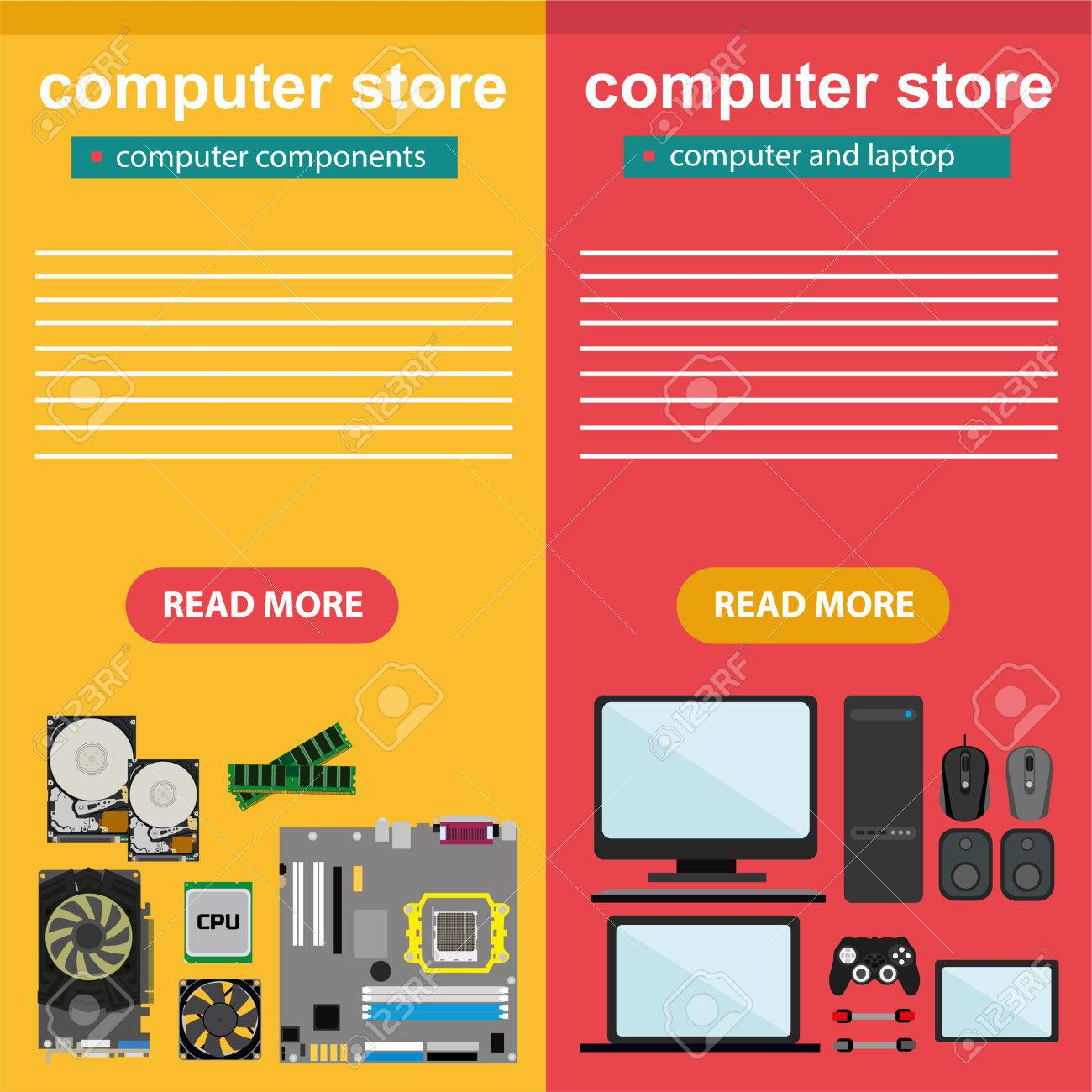 Flat design concept of computer store, sale of computers, laptops,
