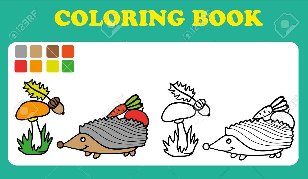 Coloring Book Or Page Cartoon Illustration Of Funny Hedgehog