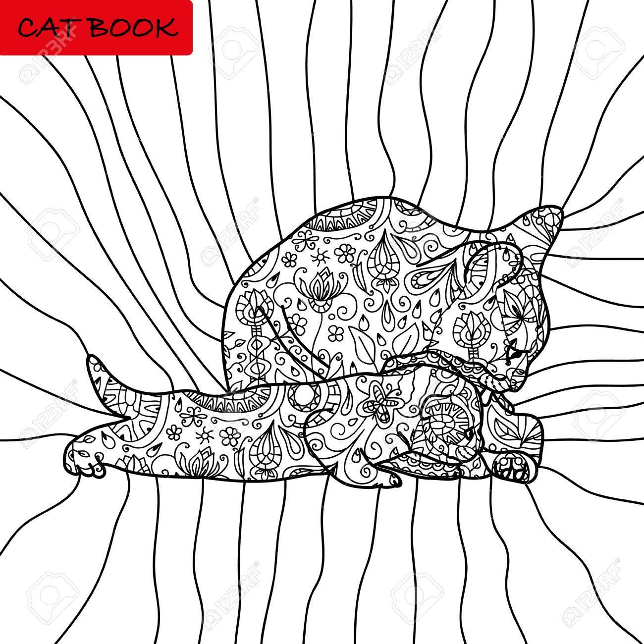 Buch Malvorlagen Für Erwachsene Und Kinder. Das Buch Der Katze ...
