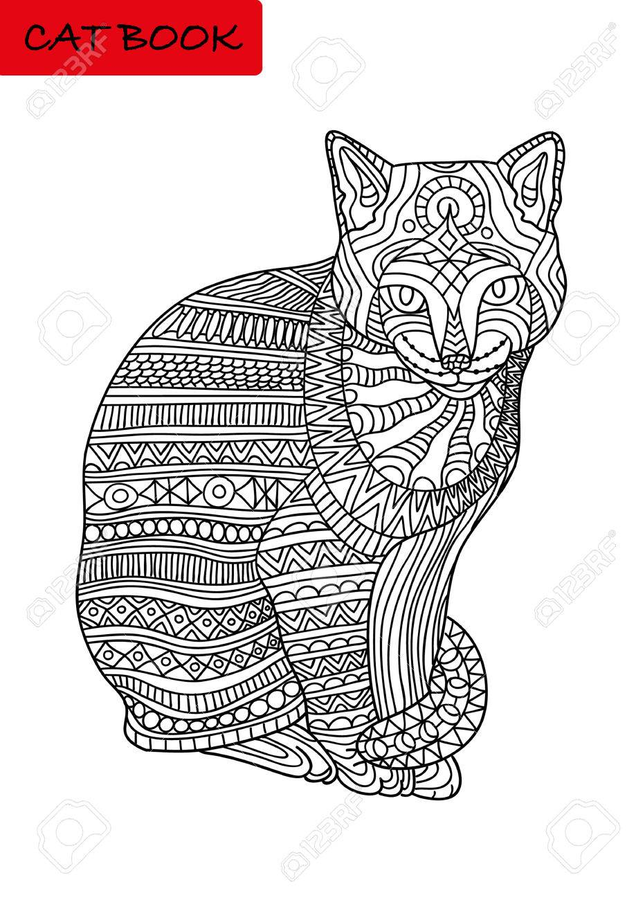 Black And White Coloring Page For Adults. Colorized Cat With ...