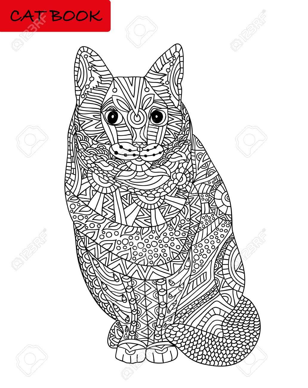 Katzen Ausmalbilder Für Erwachsene : Coloring Katze Seite F R Erwachsene Sitzende Katze Suchen Ernst