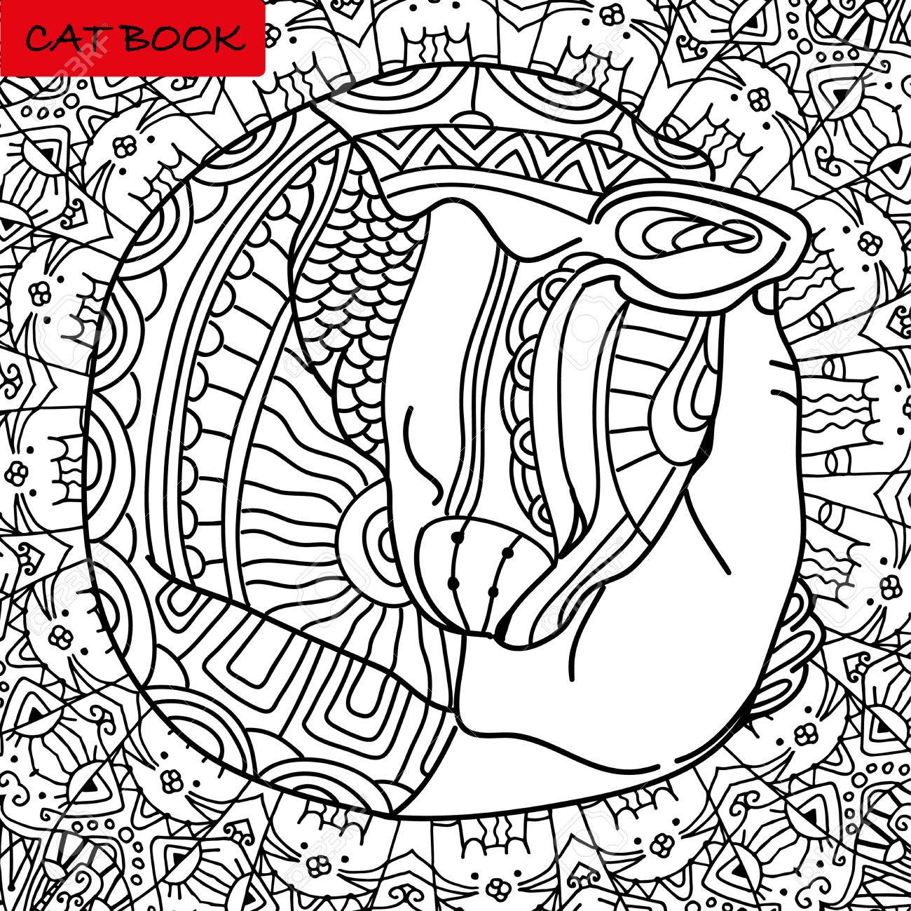 Mutual Love Cats Head In The Palm Of Your Hand Coloring Book Page For