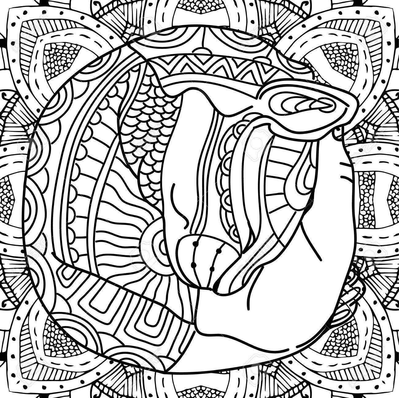 The Cat In The Arms Coloring Book Page Animal With Patterns Royalty Free Cliparts Vectors And Stock Illustration Image 64943823