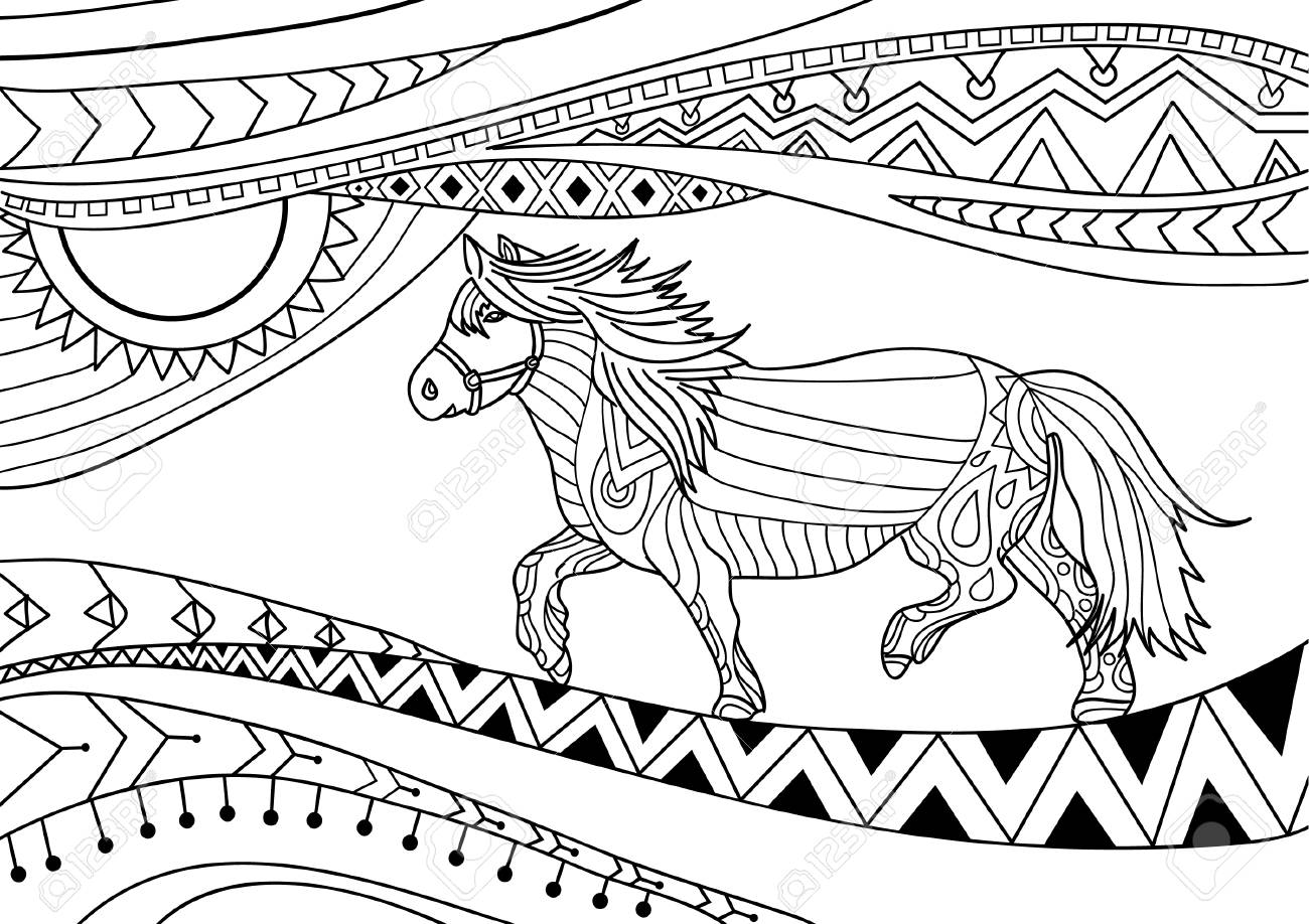 Coloring Book For Adults Line Art Design Running Horse With Tribal Patterns Doodle