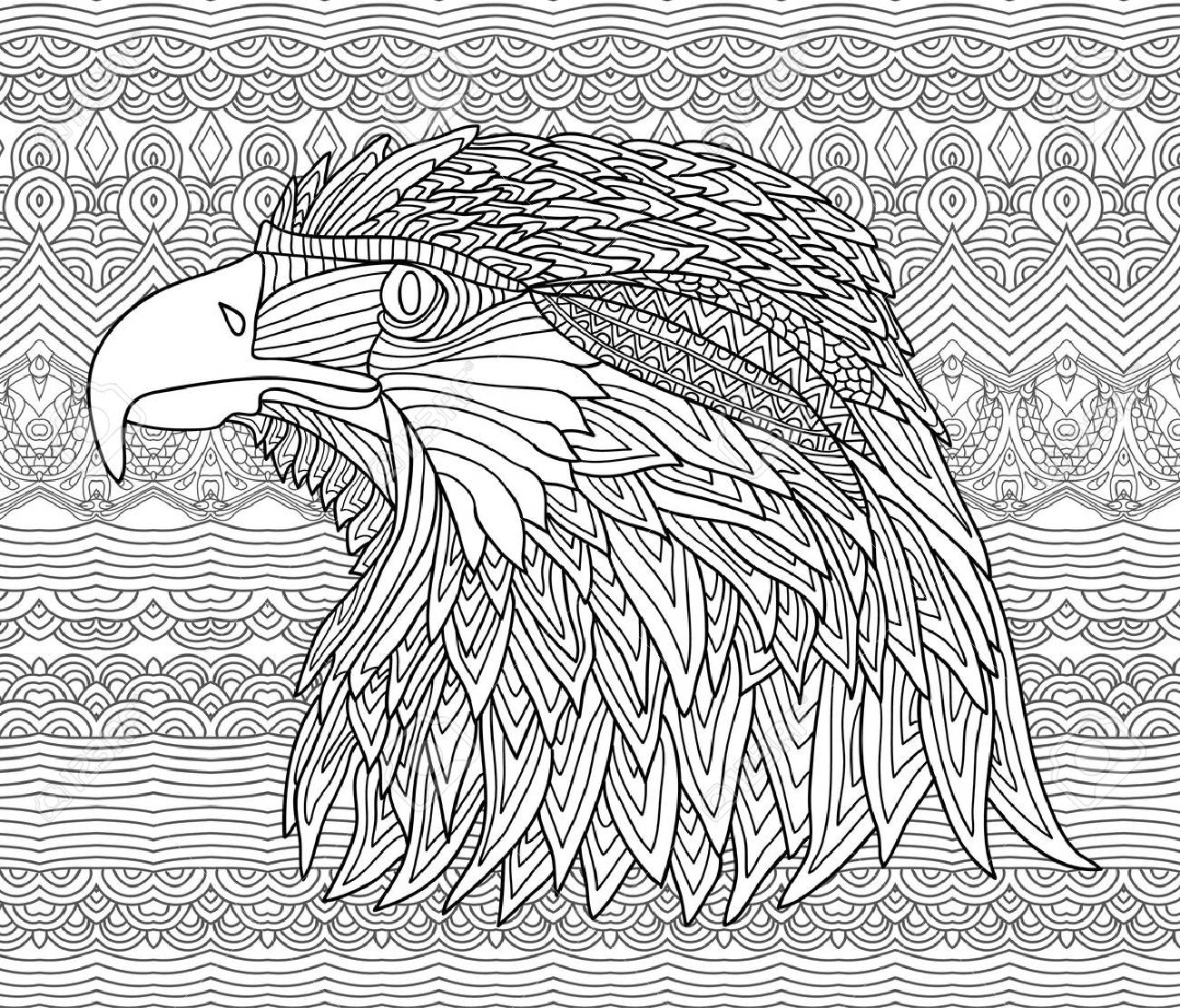Chiffre Tire Par La Main D Un Aigle Avec Des Motifs Sur Les Motifs Ethniques Coloriage Page Du Livre Pour Les Adultes Vector Zendoodle Zenart Line Art Clip Art Libres De Droits