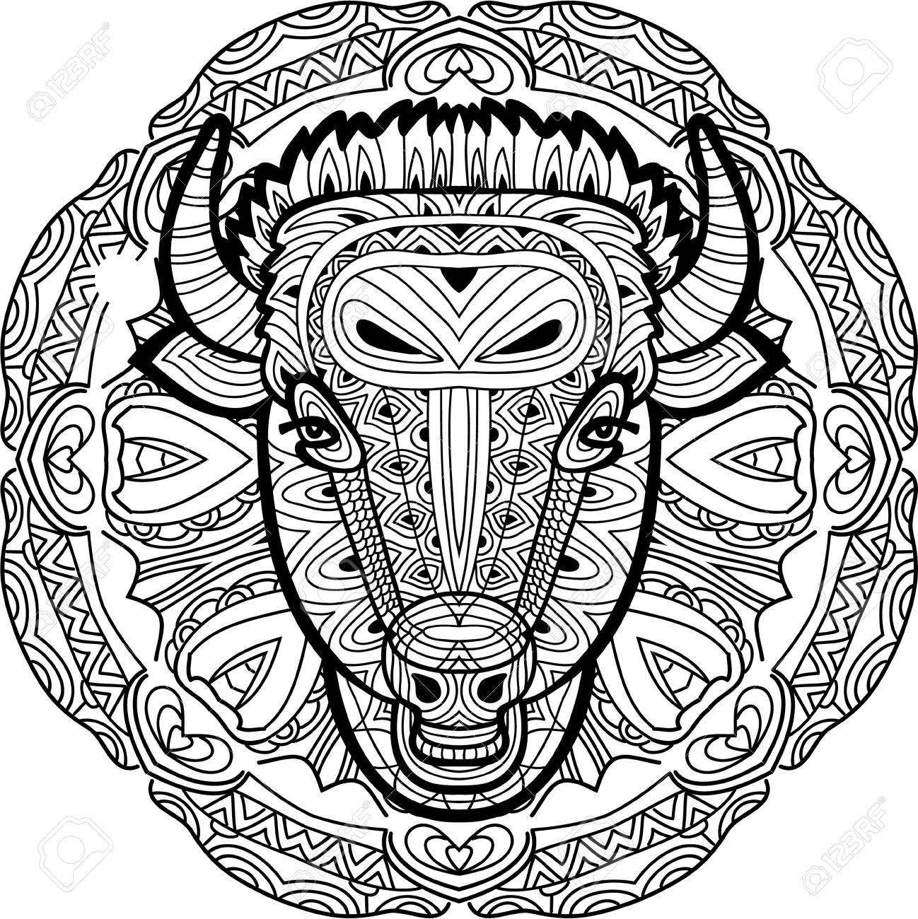 Coloring Page Book For Adults Line Art Design Monochrome Hand Drawn Ink Drawing Painted Bull On A Background Of Circular Tribal Pattern