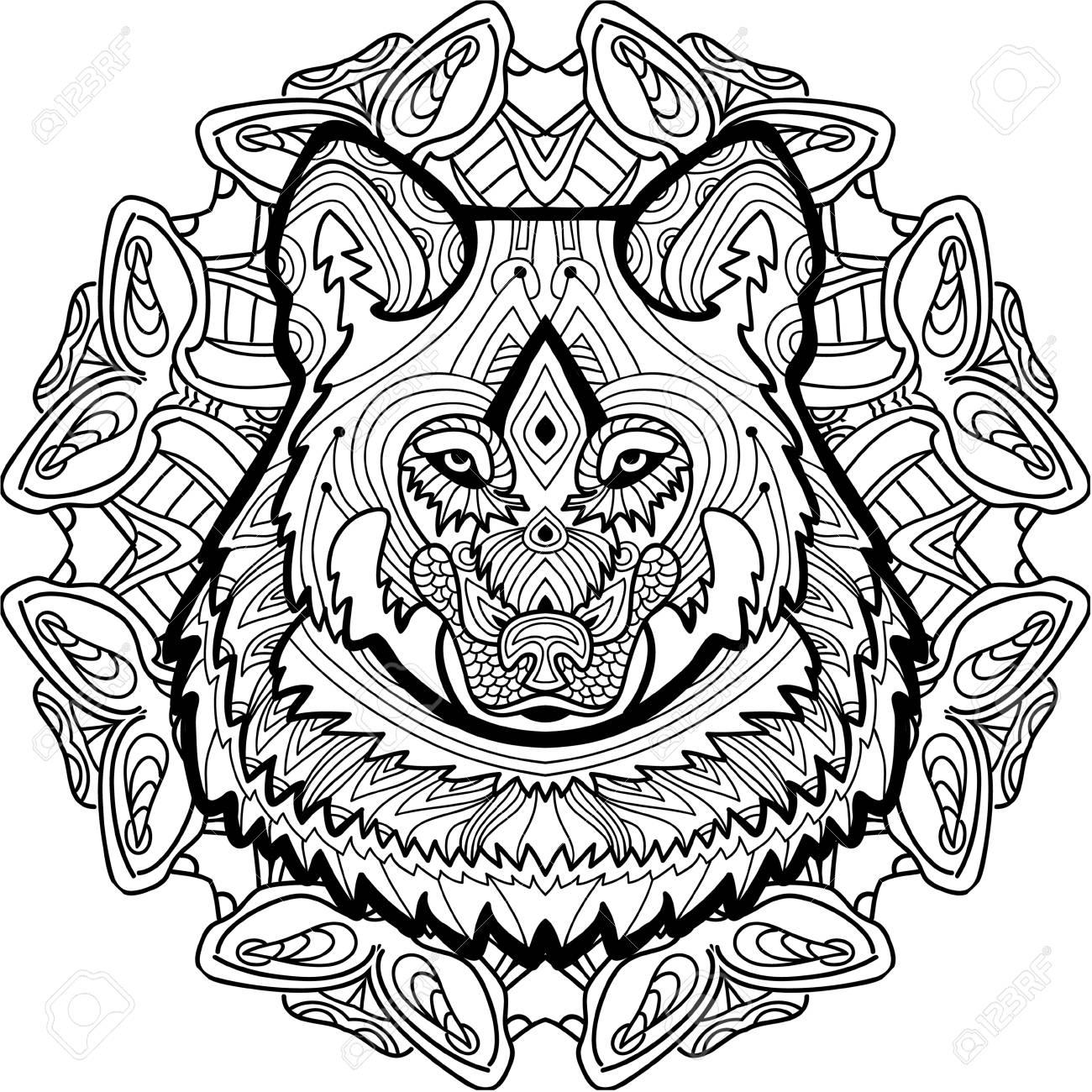 Lobo Fuerte Se Dibuja A Mano Con Tinta Con Los Patrones étnicos