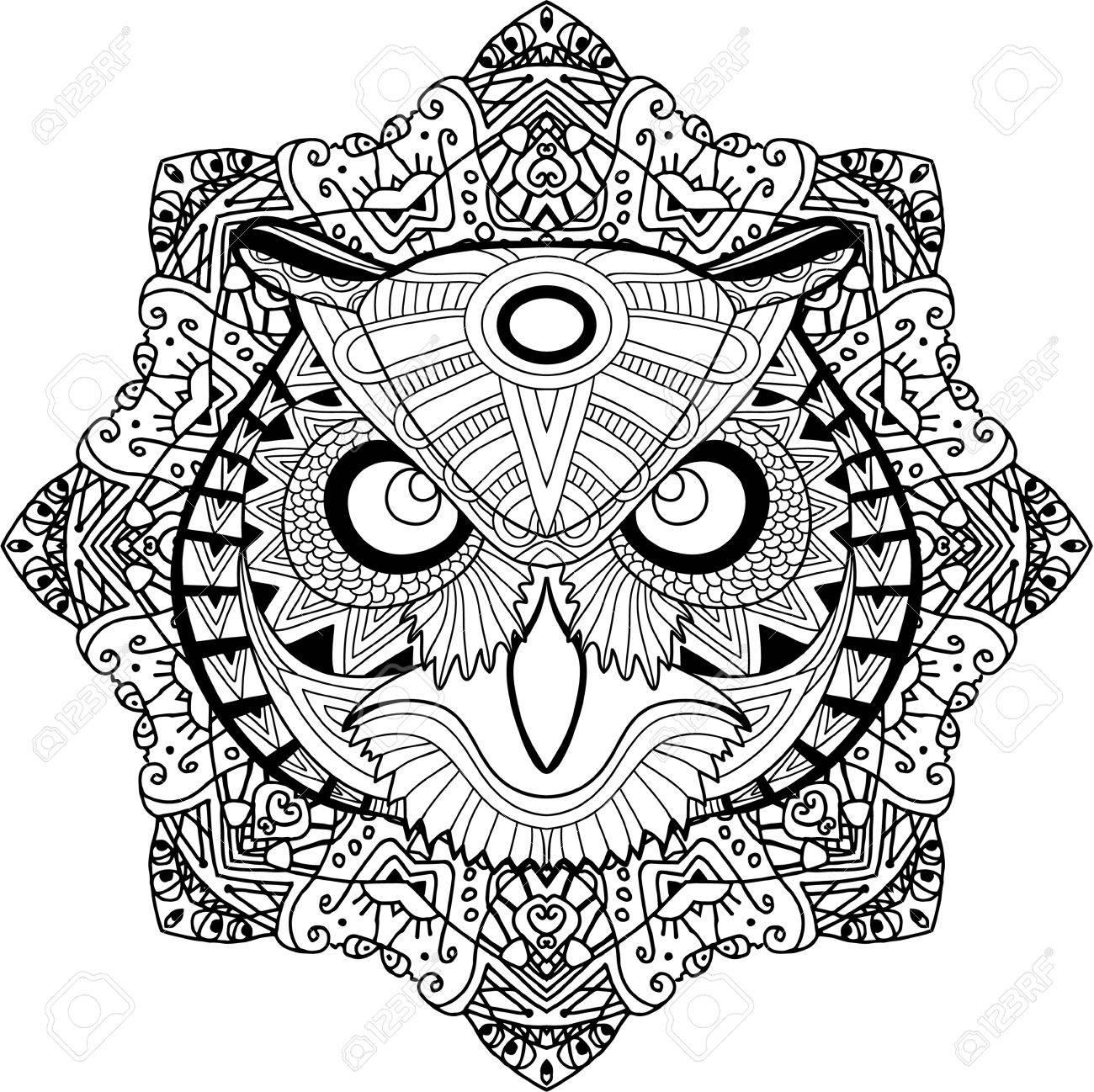 Buho Tatuaje Mandala pintado del búho en los patrones de fondo mandala tribales. elemento para  su diseño. tarjetas, bolsas, libros para colorear para los adultos,
