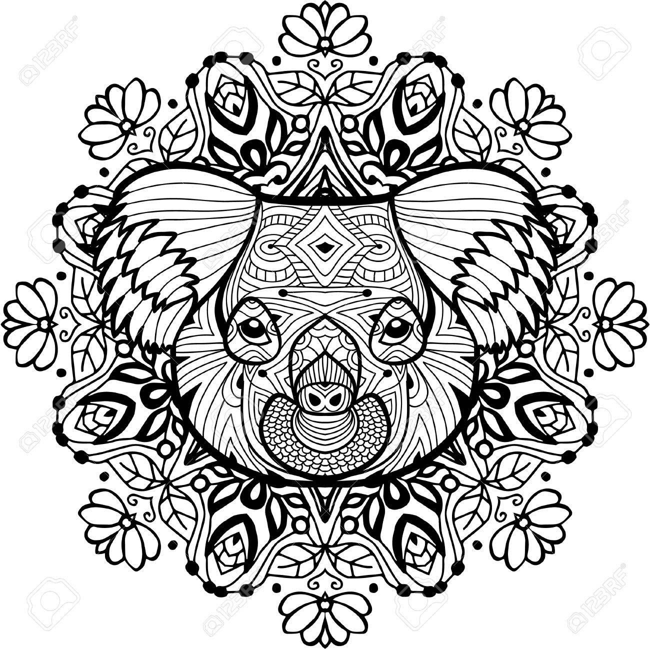 The Head Of The Koala On The Background Of Ethnic Patterns Totem