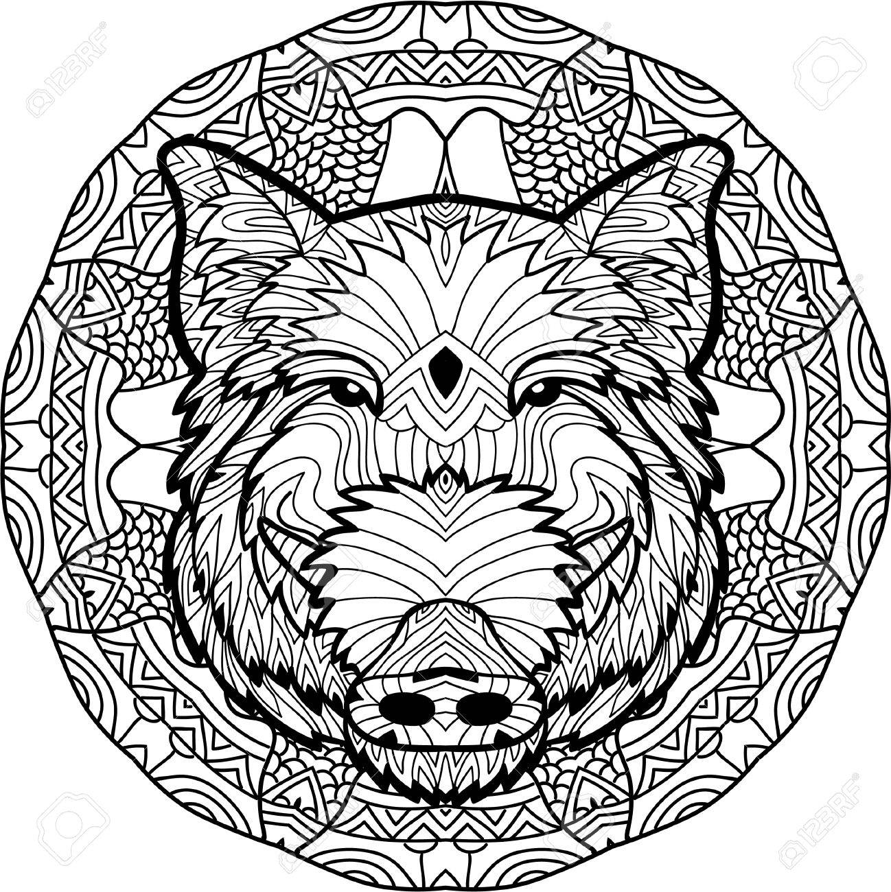 Monochrome Drawing With National Patterns Painted The Boar On
