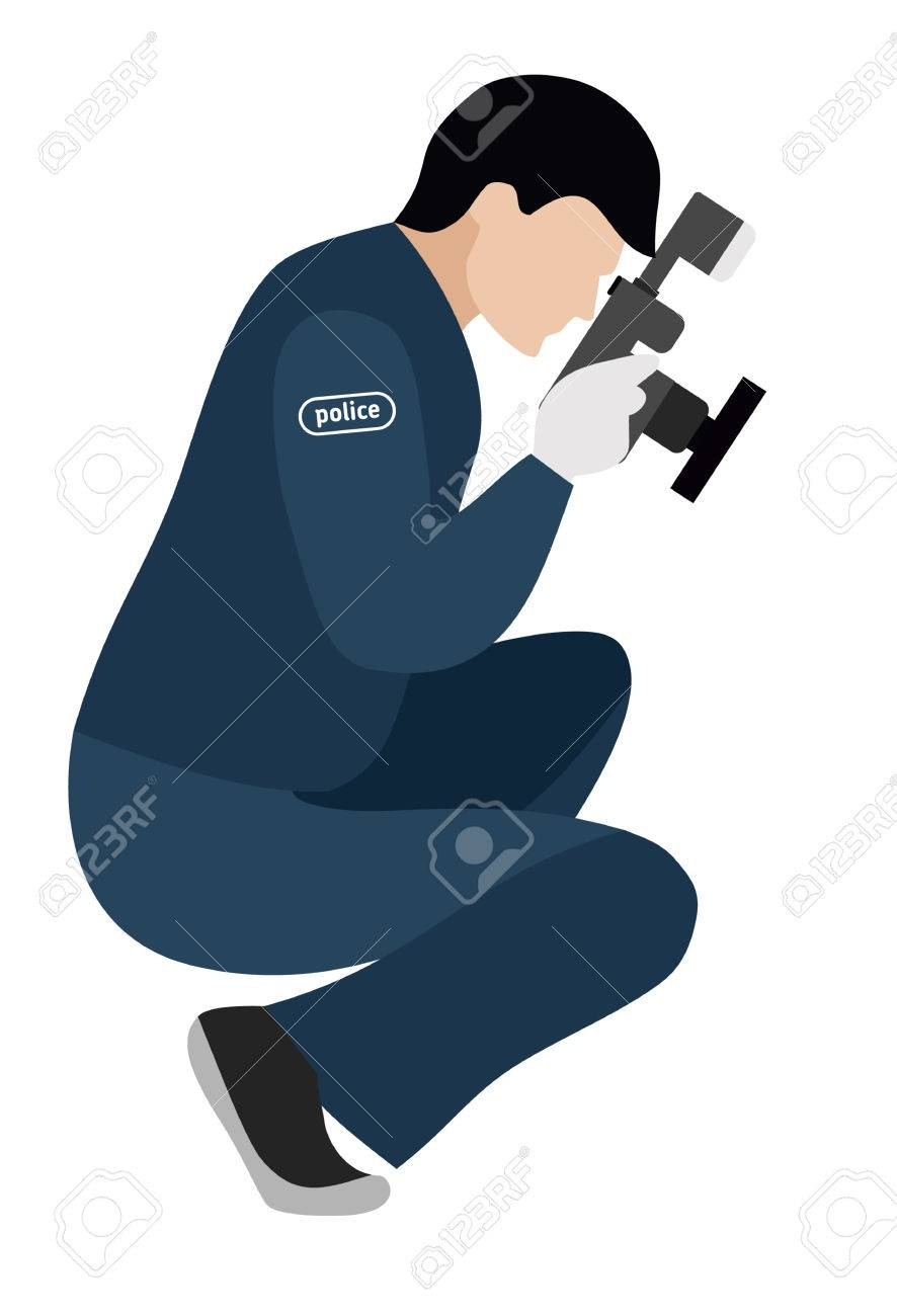 Forensic Scientist Photographs Evidence Flat Illustration Murder Royalty Free Cliparts Vectors And Stock Illustration Image 68326019