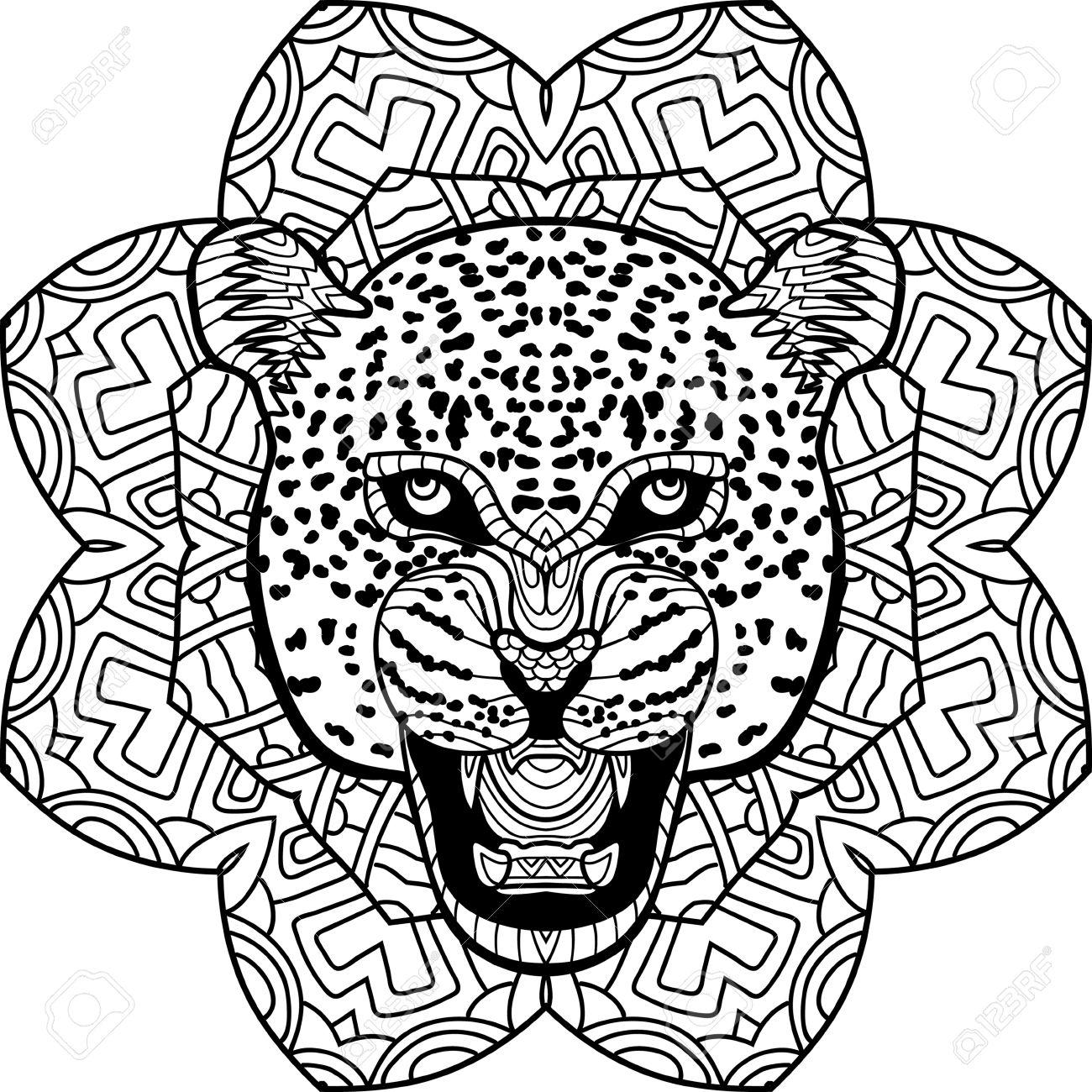 Stern Jaguar On A Background Of A Circular Mandala Pattern. Coloring ...
