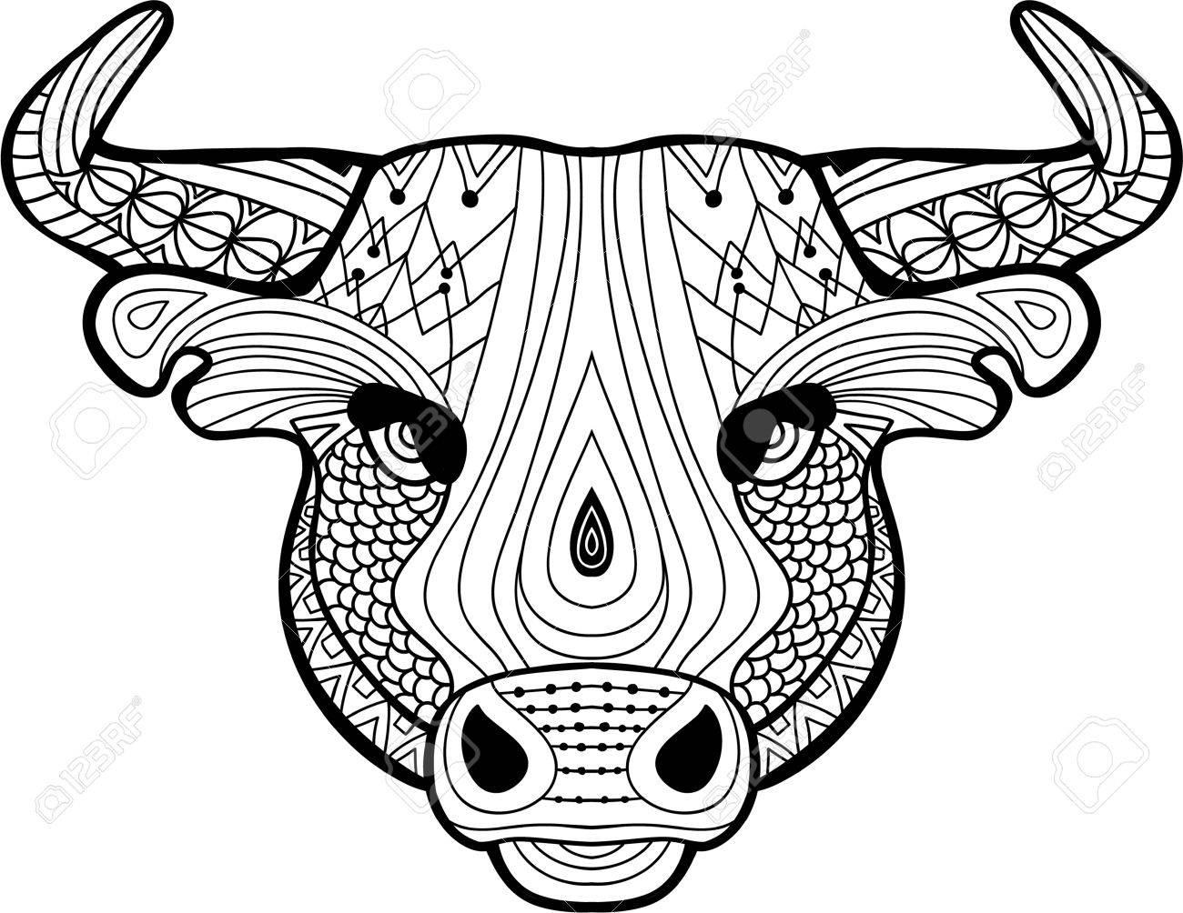 La Cabeza De Un Búfalo Con Patrones Tribales. Monocromo Ilustración ...