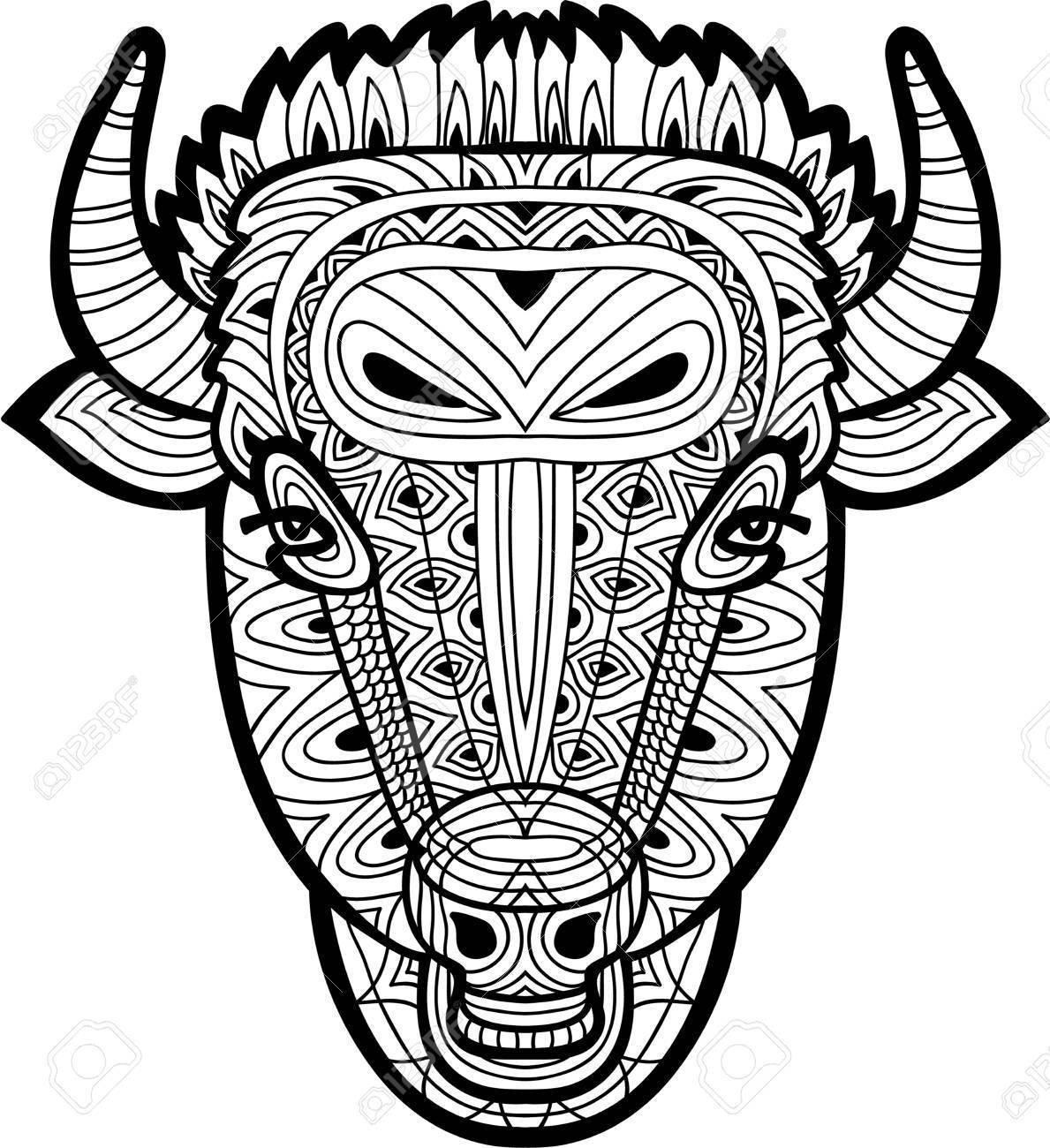 Dibujo Monocromático De Un Toro Con Patrones Tribales Sobre Fondo ...
