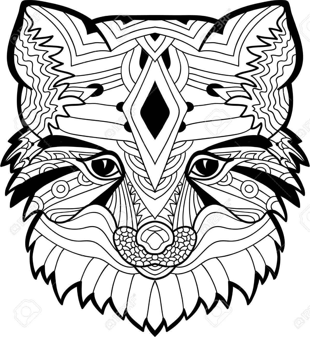 Monochrome Ink Drawing. A Drawing Of A Fox Head With Tribal Patterns ...