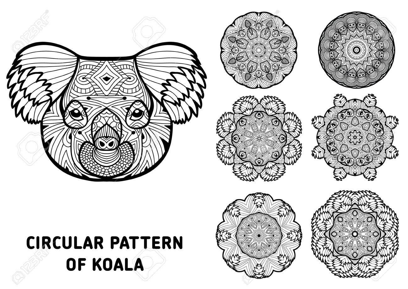 Line Art. Element Für Ihr Design. Der Kopf Eines Koala Und Muster ...