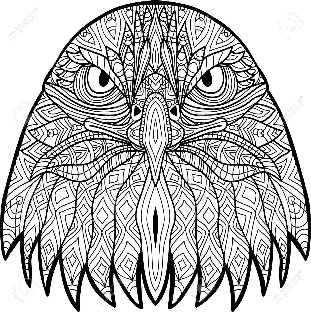 Dibujo Monocromático De Un águila Severa Con Los Patrones Dibujo