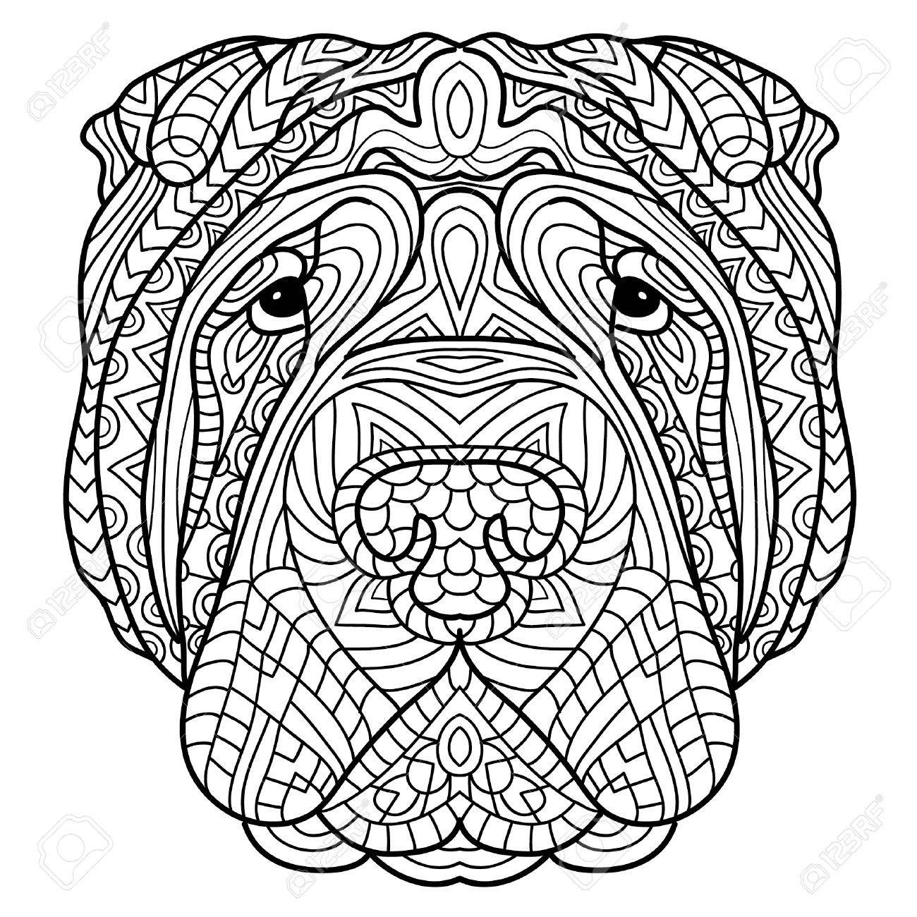 Coloring Book For Adults Dog The Head Of A Sharpay With Tribal
