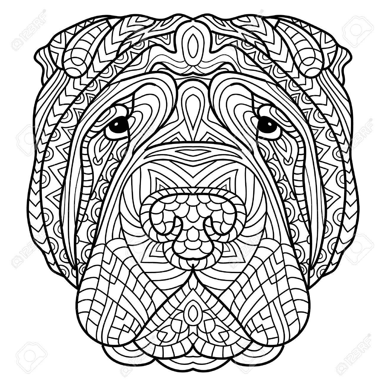 Libro De Colorear Para Adultos Libro De Perro La Cabeza De Un Perro Sharpay Con Patrón Tribal