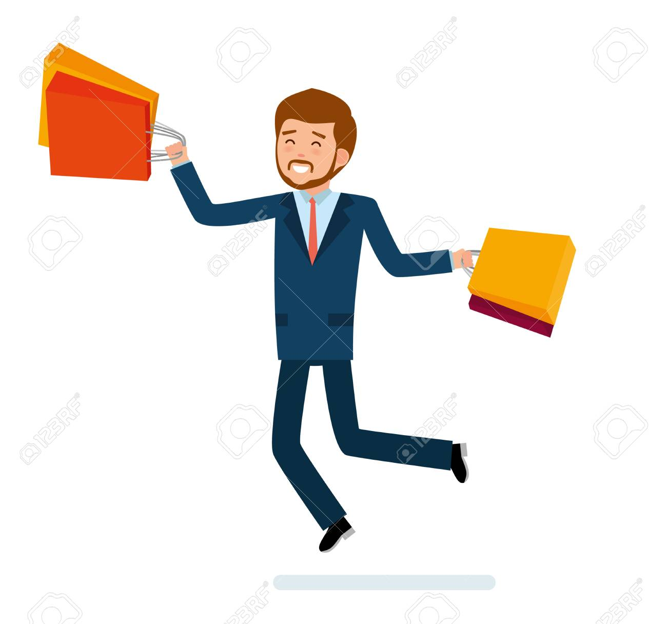 Dessin Shopping man in suit jumping for joy shopping in cartoon style illustration