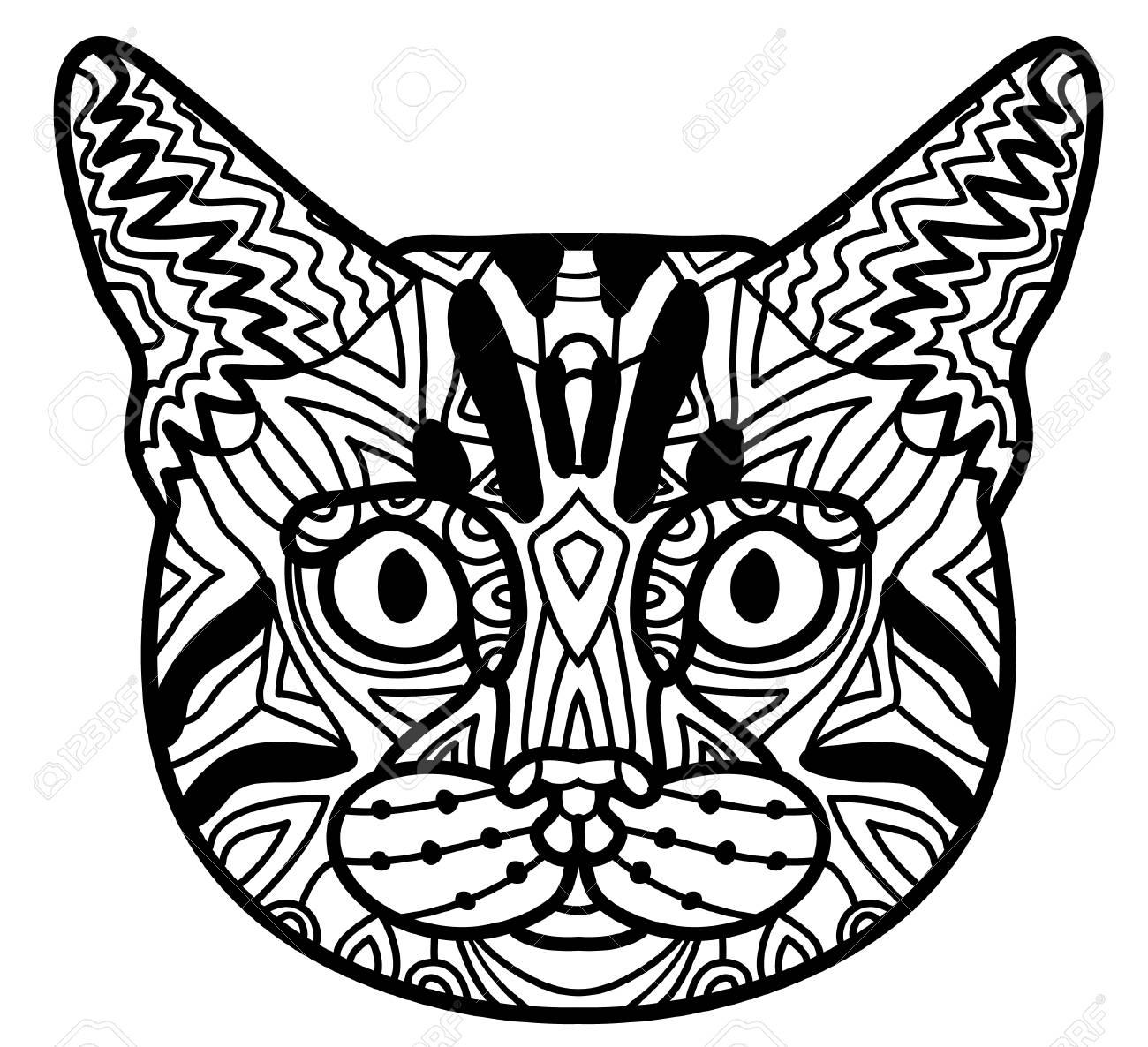 Página De Libro Para Colorear Con Patrón Gato De Bengala. Dibujo De ...