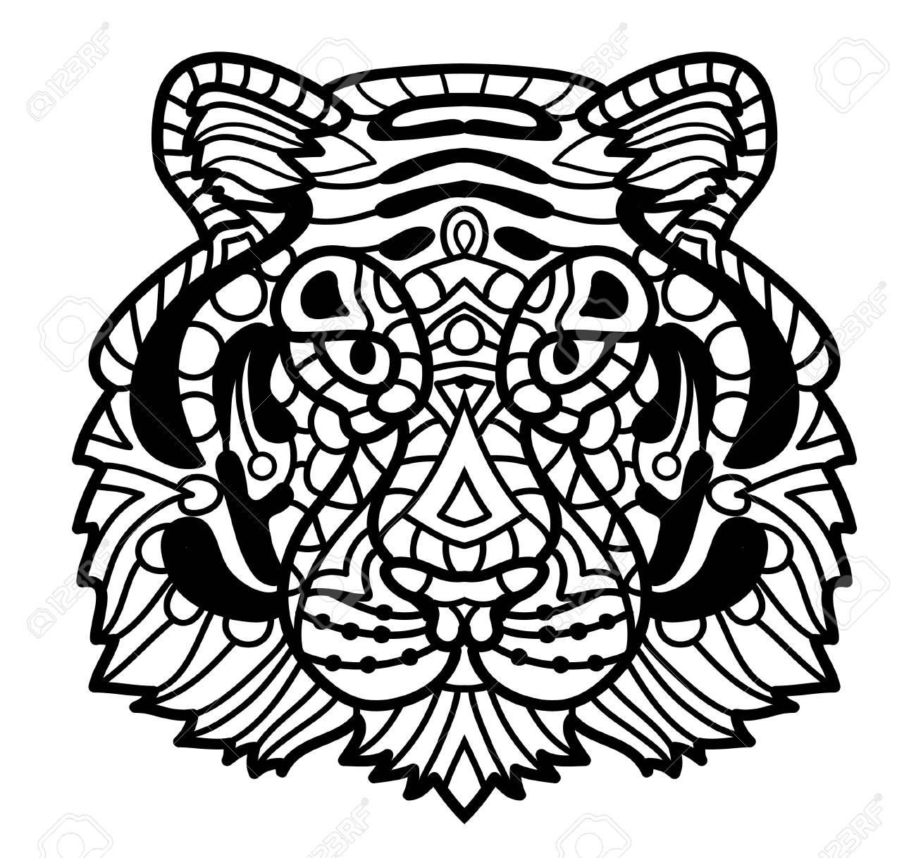 Coloriage Anti Stress Visage.Tigre De Vecteur Illustration De Visage De Tigre Impression De Tete De Tigre Pour Le Coloriage D Adulte Anti Stress Animal Decoratif A Motifs