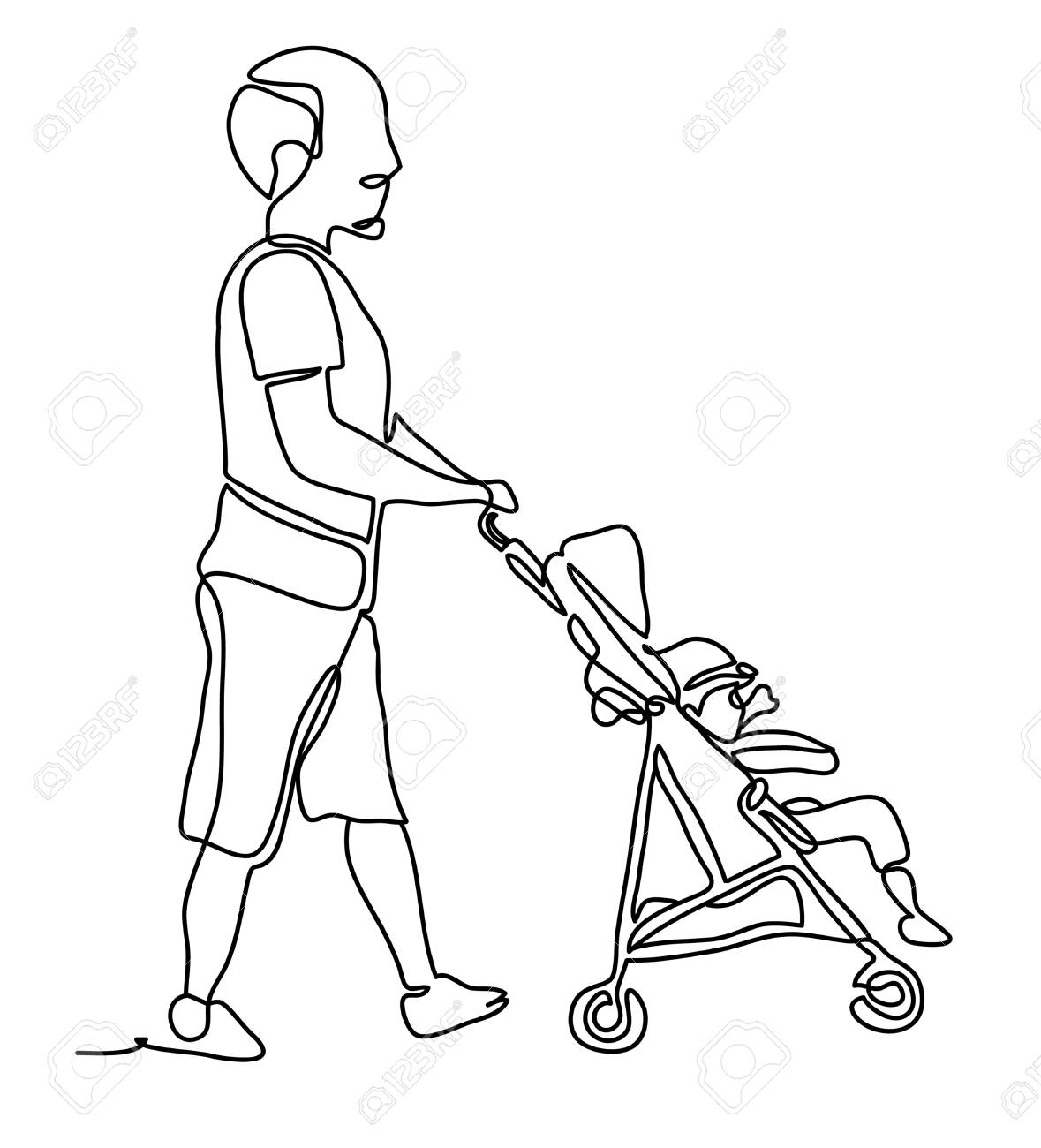 Line Drawing Of People Pushing Wiring Diagrams Dcac Solid State Relay Or Ssr Del30008 Full Length Portrait A Male Baby Stroller Isolated Rh 123rf Com Art