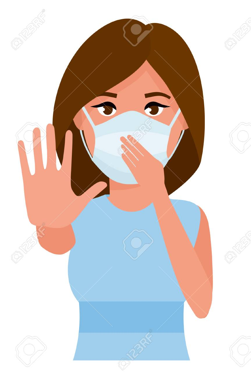 Woman showing gesture stop. Young woman with medicine health care mask against white room background. Cartoon vector illustration. - 100135443