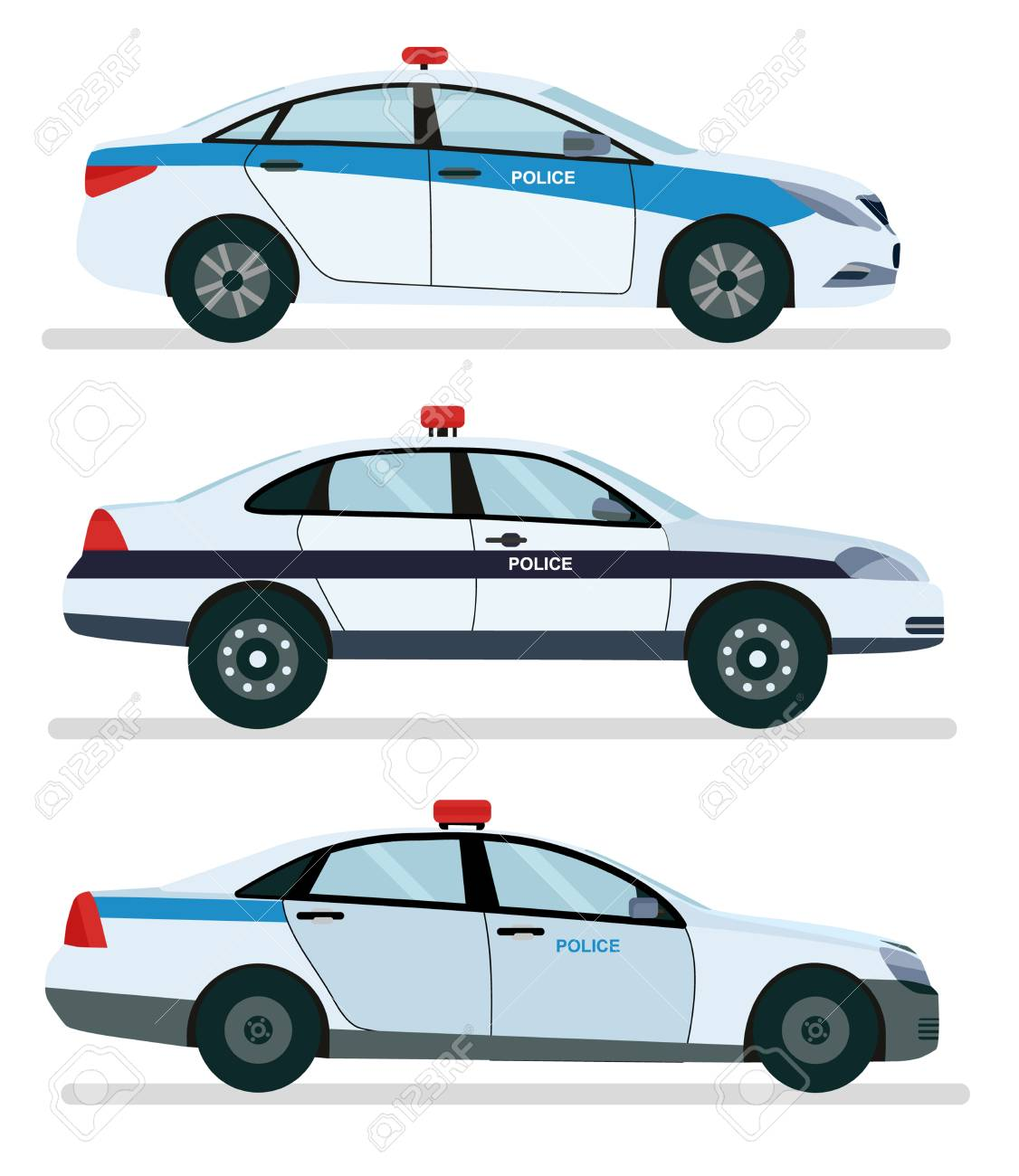Police car side view isolated on white. Vector cartoon design illustration isolated on white background. - 102246473
