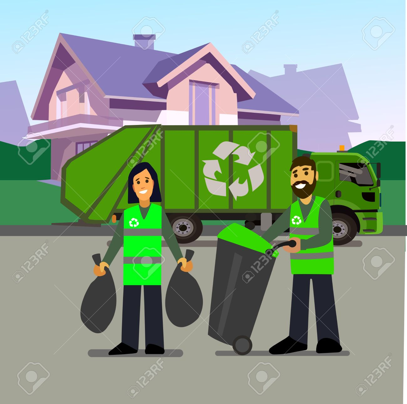 Garbage Collection Truck And Men Isolated On White Backgroundwaste Disposal