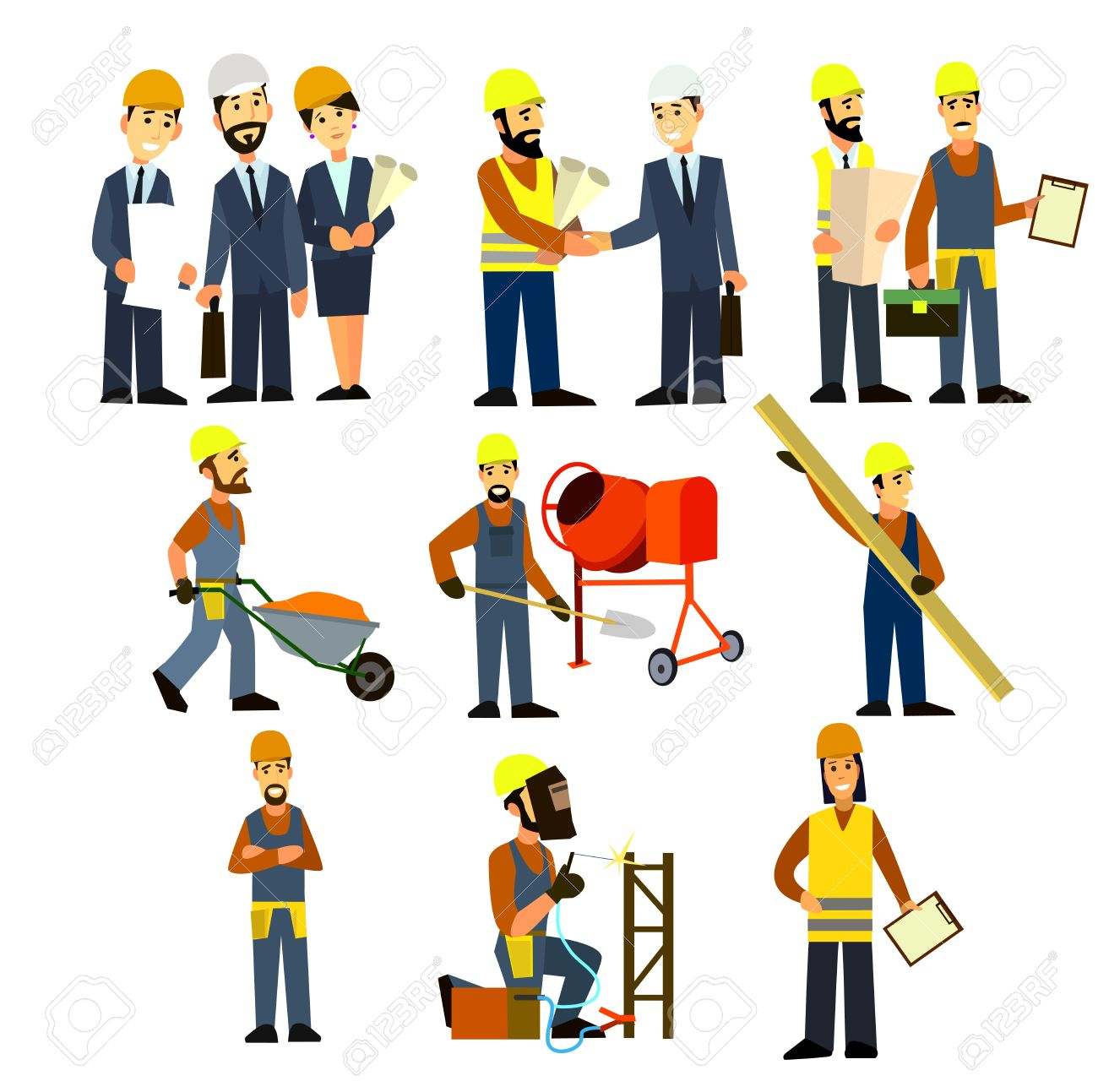 construction engineering industrial workers project manager vector rh 123rf com