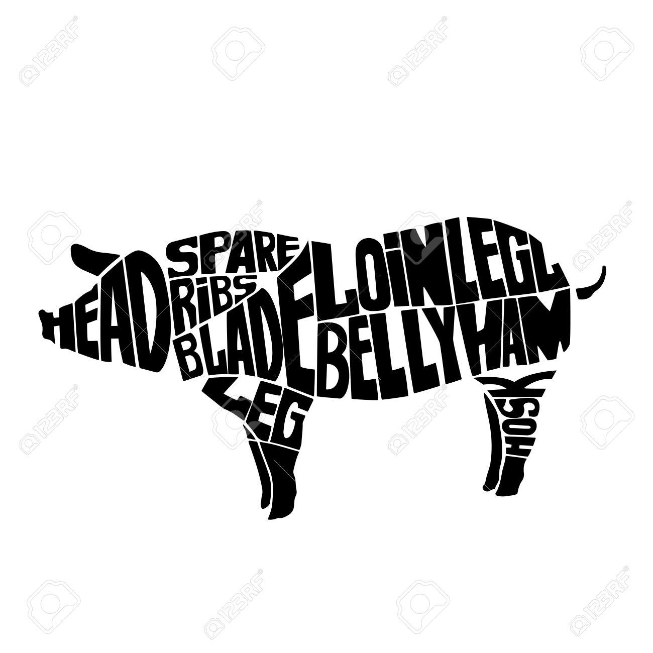 typographic pig butcher cuts diagram icon vector illustration rh 123rf com Hog Processing Chart pig butcher diagram print