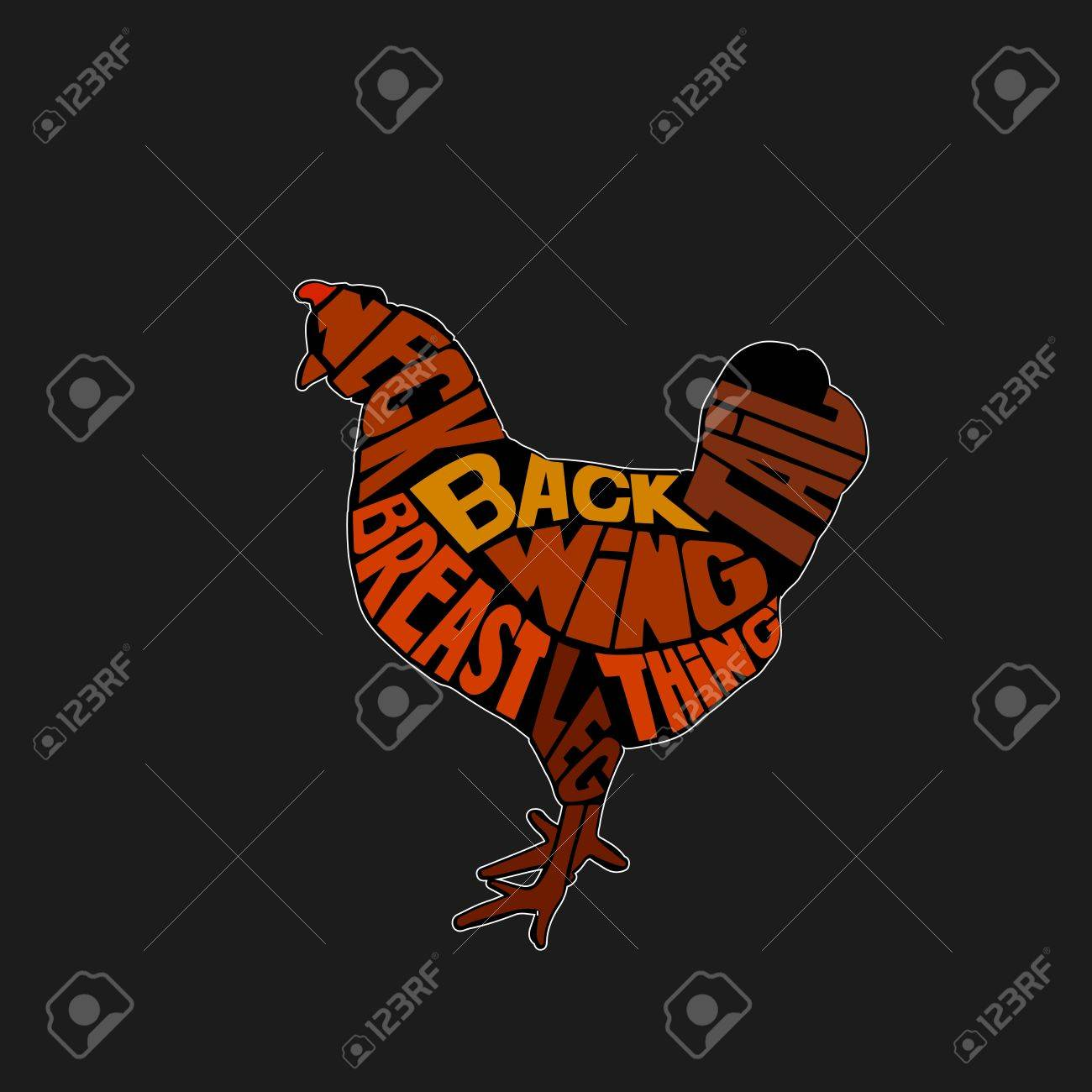 Typographic Chicken Butcher Cuts Diagram Hand Drawn Vintage Stock Vector Label Illustration