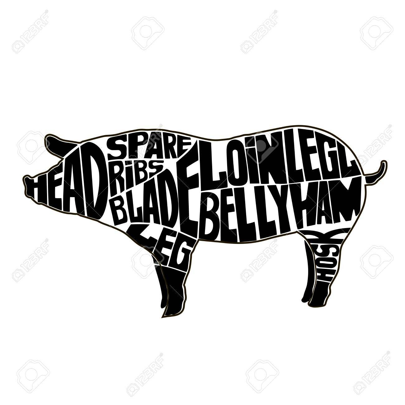 Butcher A Pig Diagram Data Circuit Deer Typographic Cuts Icon Vector Illustration Rh 123rf Com Butchering Lamb