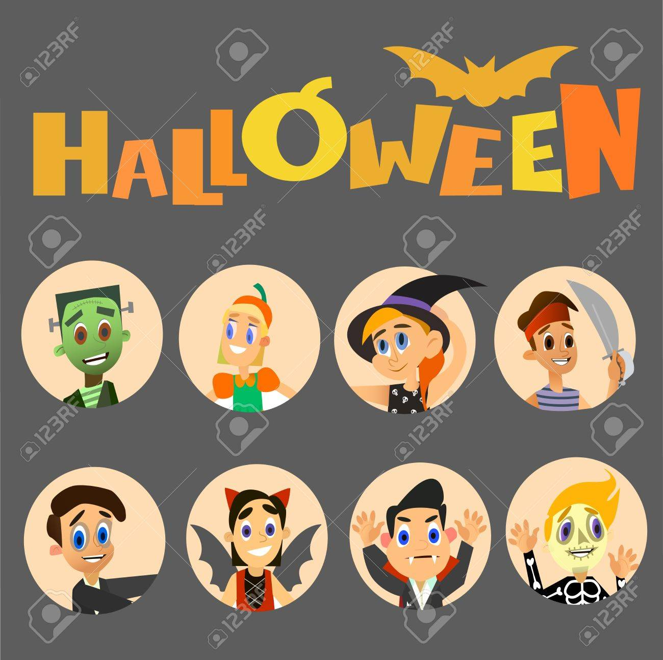 Happy children Halloween avatar costume collection and crow.Vector illustration of a flat design.  sc 1 st  123RF.com & Happy Children Halloween Avatar Costume Collection And Crow.Vector ...