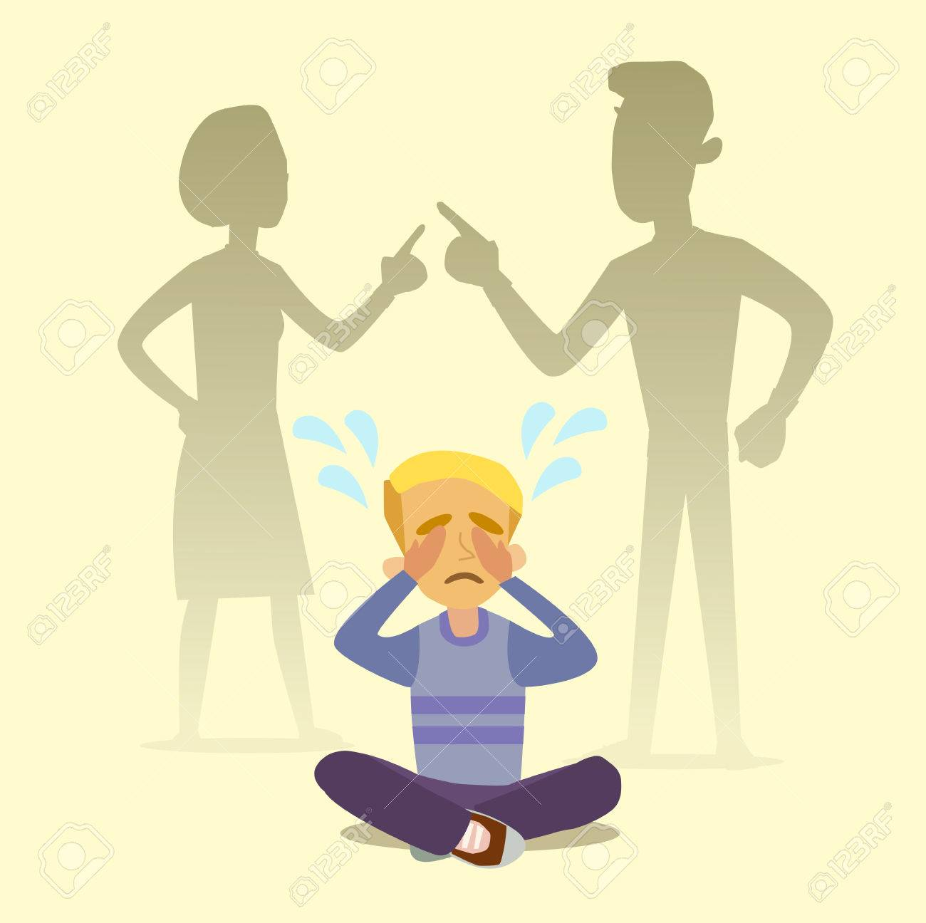 A little boy crying, cursing when his beloved parents. Illustration of a flat design. - 64202224
