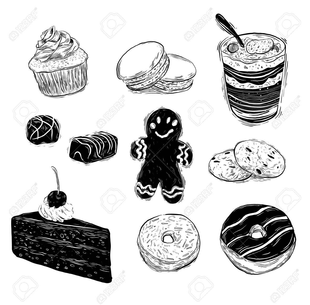 Hand Gezeichnet Kuchen Sammlung Isoliert Auf Weiss Kuchen Torten