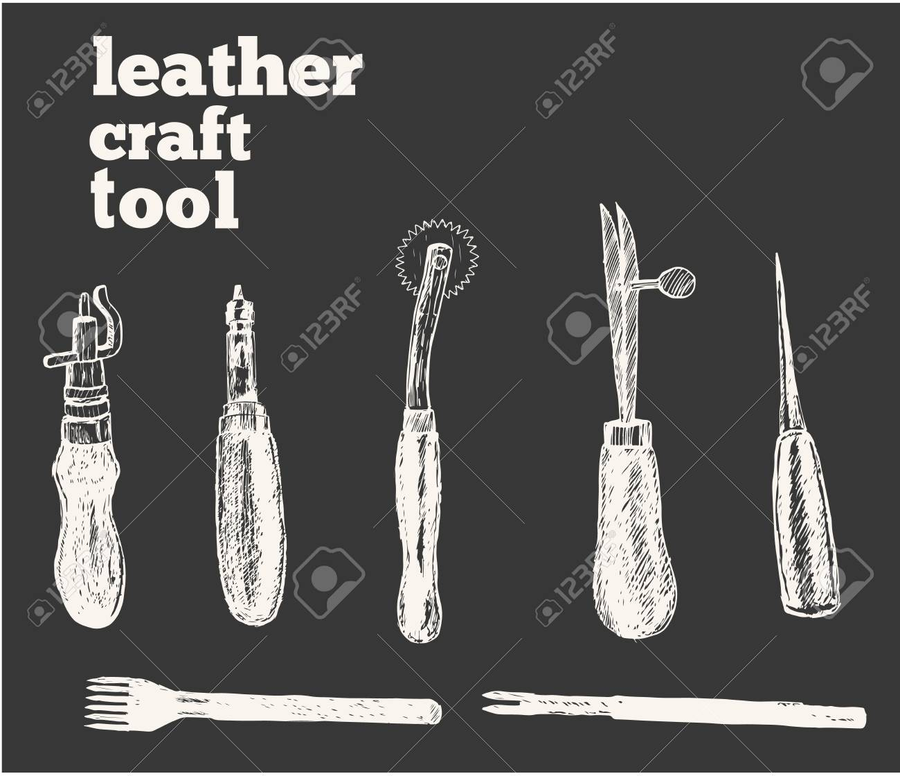 Leather Craft Tools And Utensils On A White Wooden Background