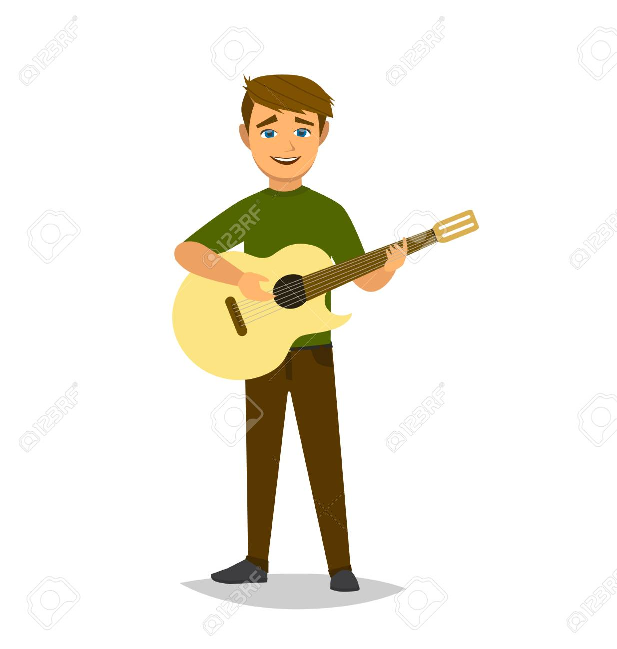 The boy plays the guitar. Vector illustration in cartoon style. Vector illustration in Multan style. - 95030336
