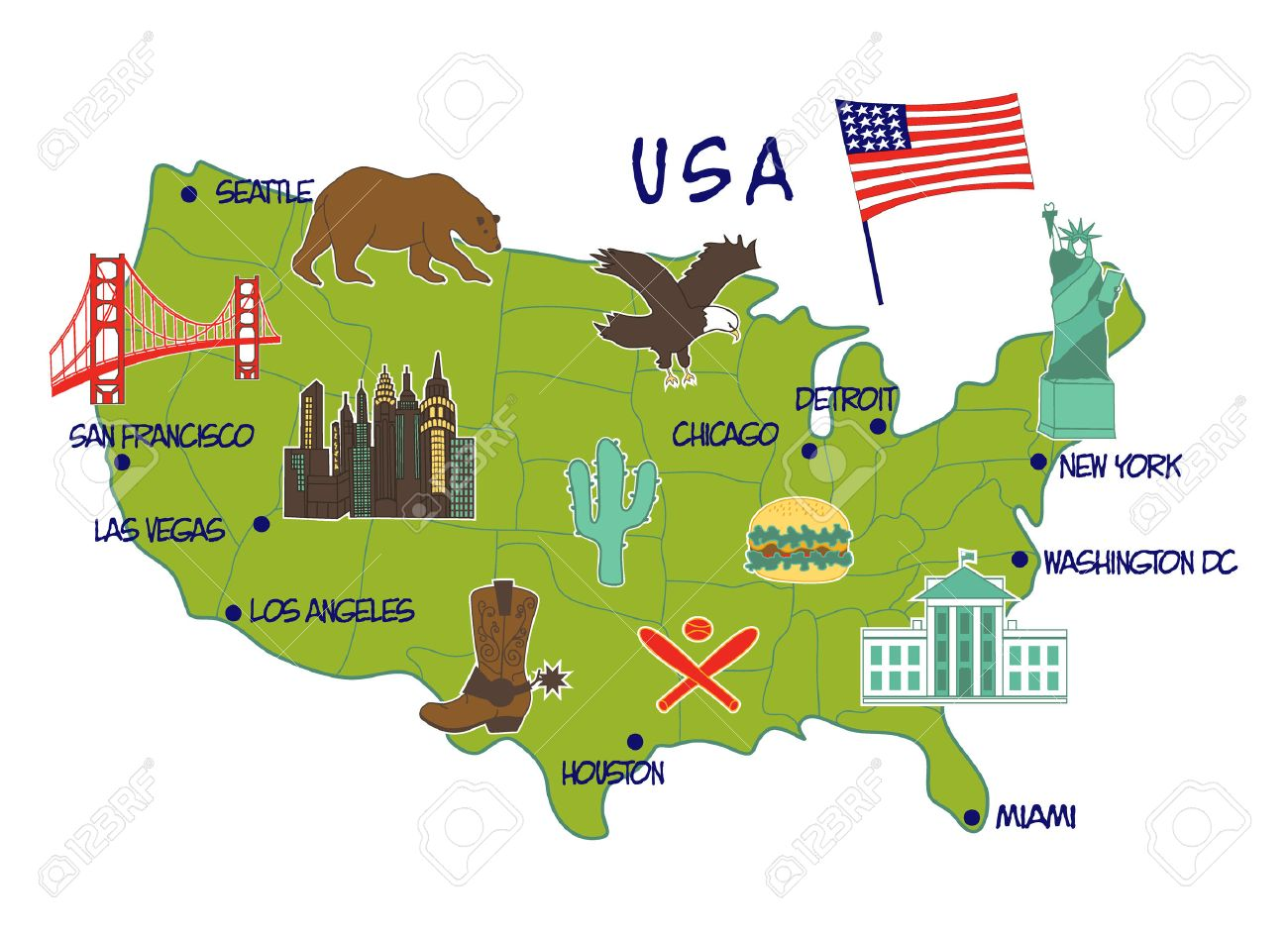 Vector Illustration Of Map Of USA With Typical Features Royalty - Vegas usa map
