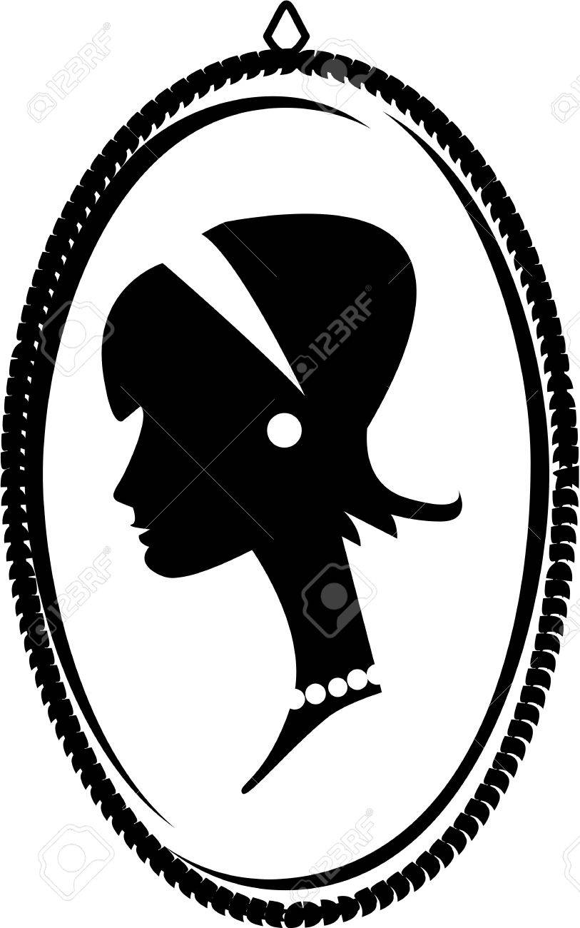 Cameo with a young woman s profile having a headband and pearls in vintage fashion, looking both retro and regal Stock Vector - 18142498