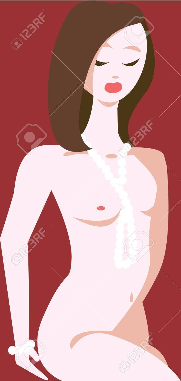 Vector illustration of a seductive brunette looking down, naked except a pearl necklace, in warm tones; represents passion and seduction  No gradients used Stock Vector - 19882822